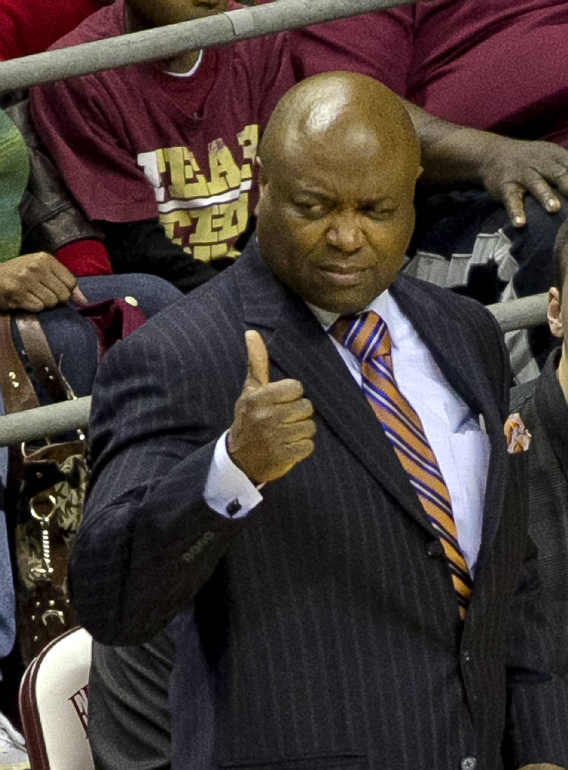 "Head Coach Leonard Hamilton with a ""thumbs up"" on a defensive stand, FSU vs Maryland, 1-12-14, (Photo's by Steve Musco)"