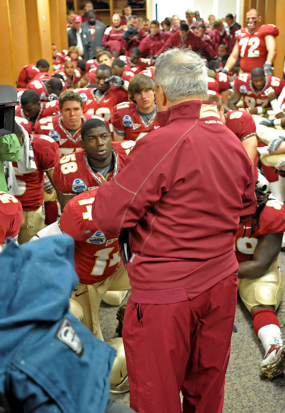 Bobby Bowden addresses his team before the game