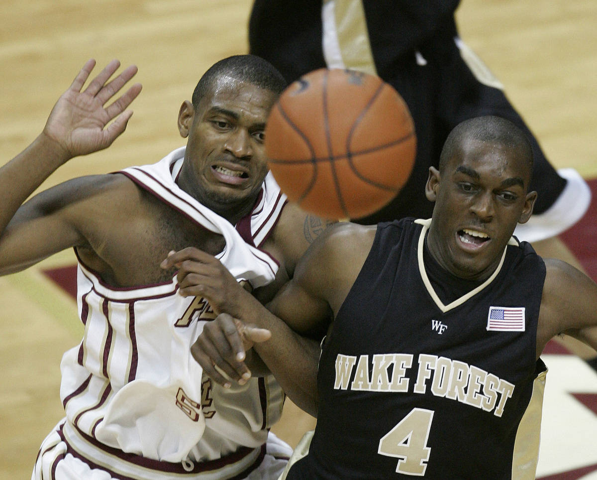 Wake Forest's Harvey Hale, right, and Florida State's Ralph Mims, left, cross arms as they go for a second-half rebound during a basketball game Saturday, Jan. 27, 2007, in Tallahassee, Fla. Florida State won 74-66. (AP Photo/Phil Coale)
