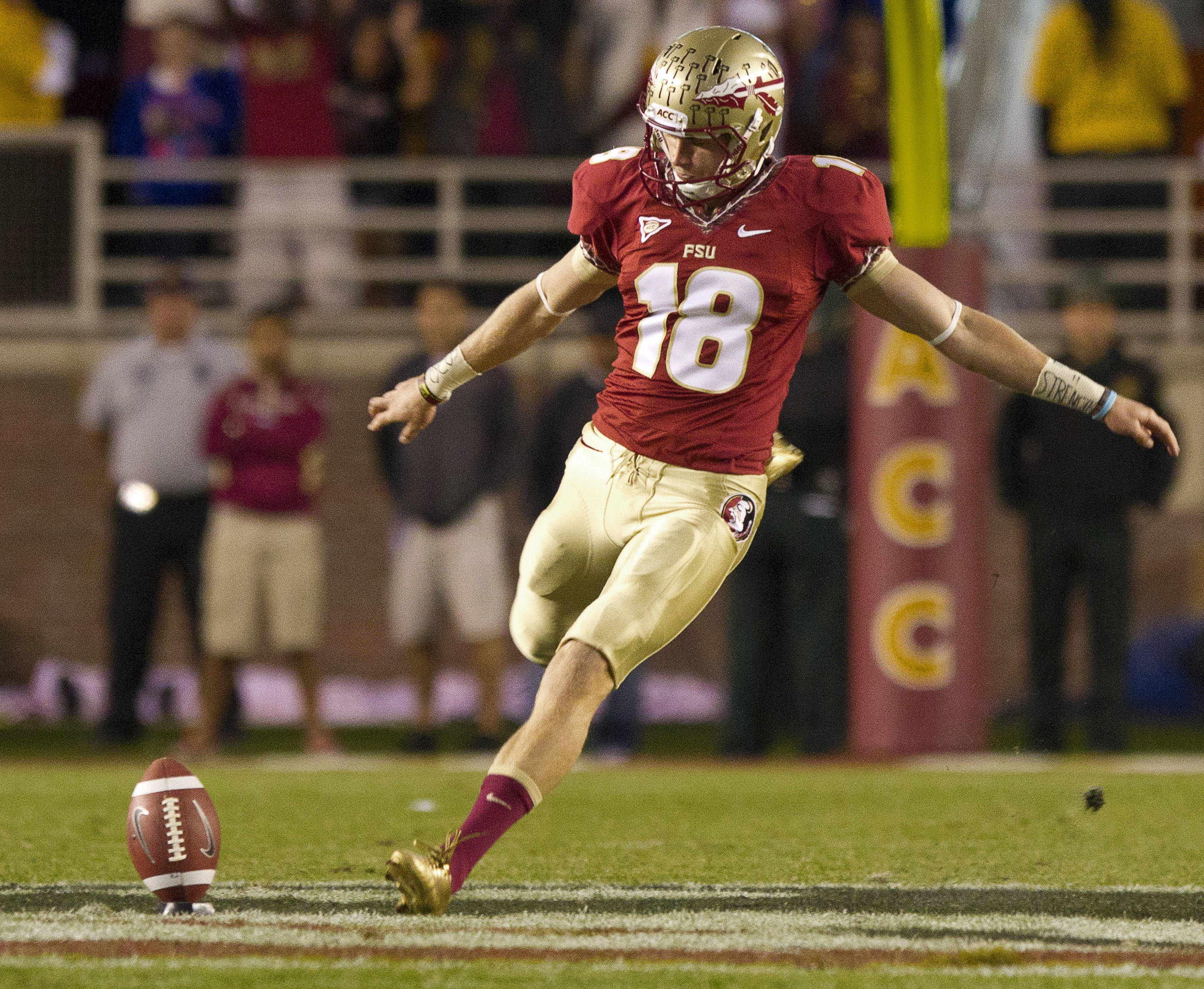 Dustin Hopkins (18) takes a kickoff during FSU Football's game against UF on Saturday, November 24, 2012 in Tallahassee, Fla.