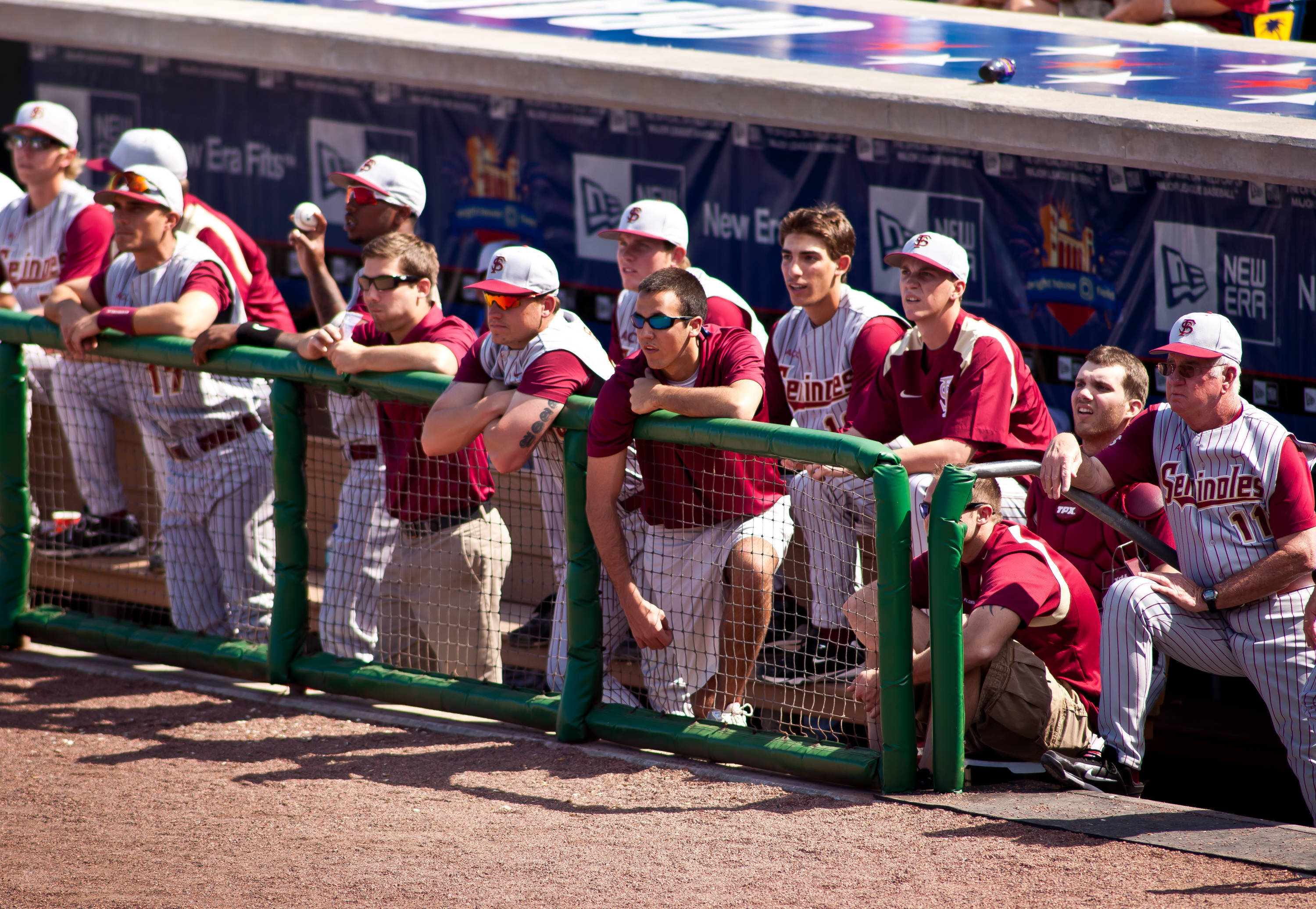 Noles watch from the 1st base dugout