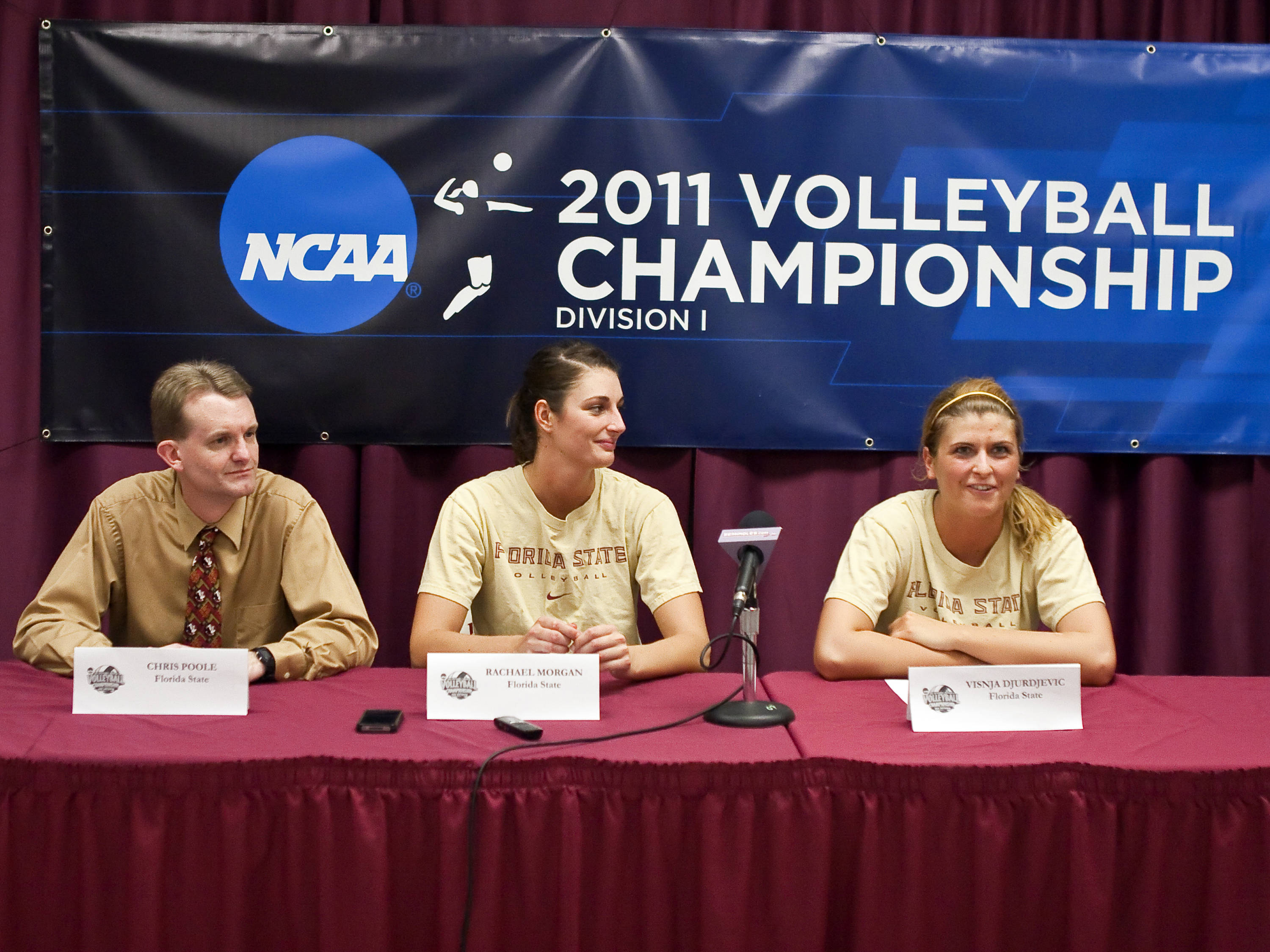 Head Coach Chris Poole, Rachael Morgan (1) and Visnja Djurdjevic (9) at post game press conference, FSU vs Cincinnati, 12/03/2011