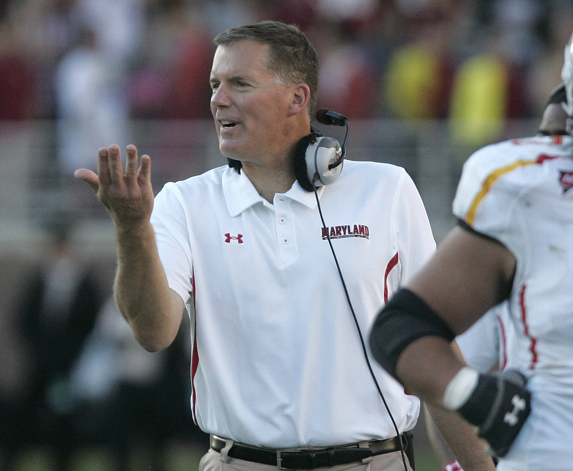 Maryland's head coach Randy Edsall celebrates a big play by his defense in the third quarter against FSU. (AP Photo/Steve Cannon)