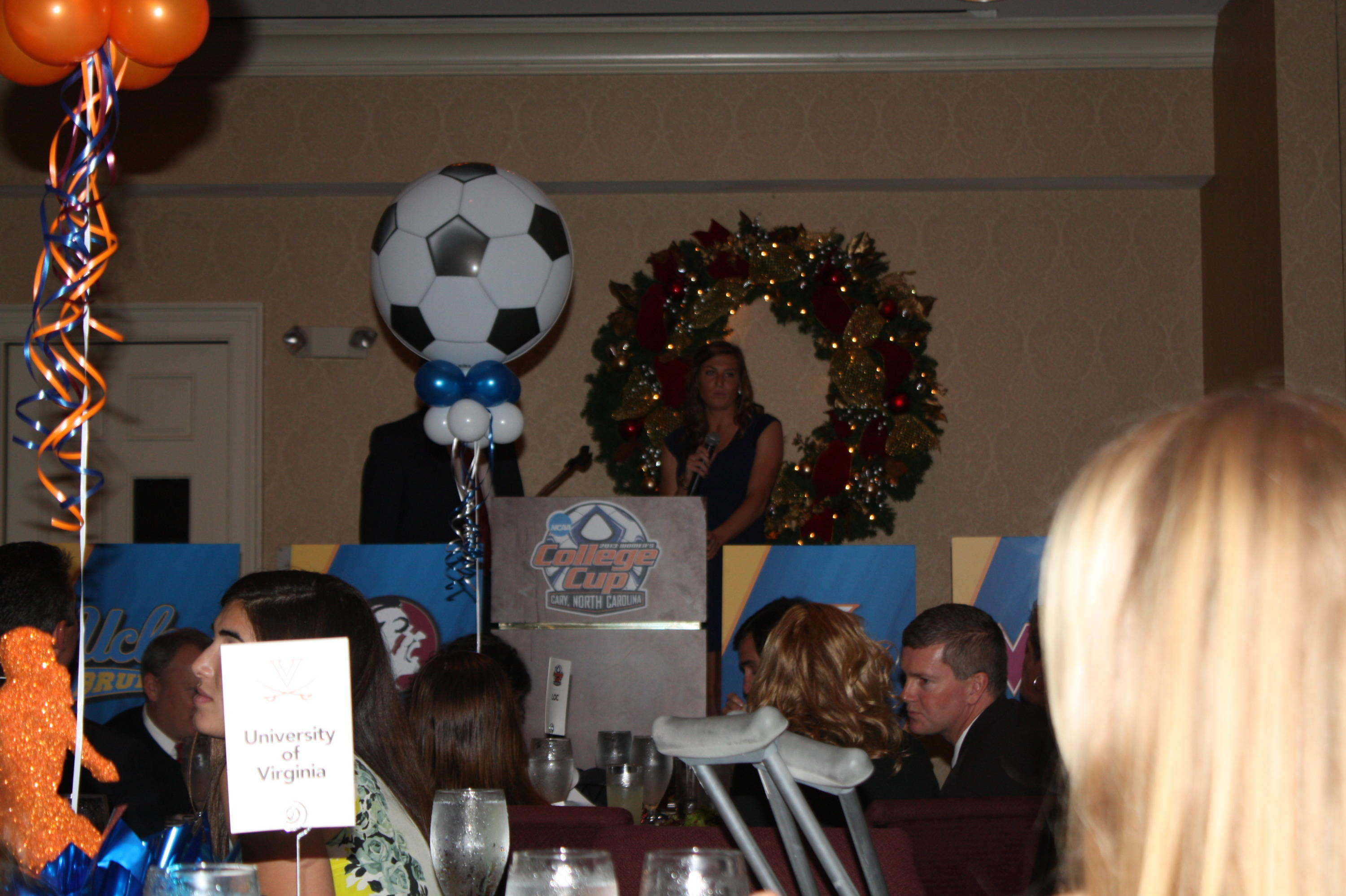 Kassey Kallman provides a few words during the 2013 College Cup banquet.