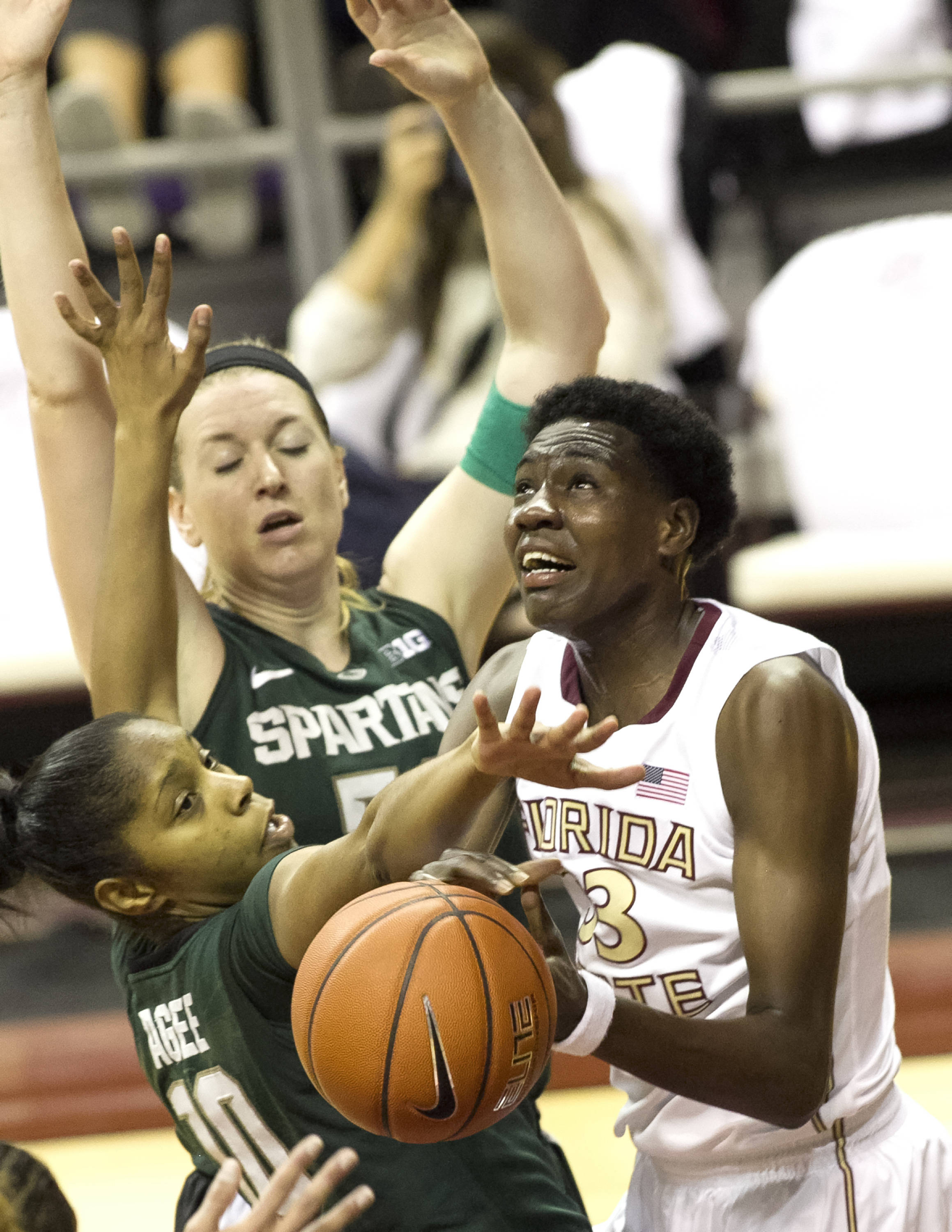 Natasha Howard (33), FSU vs Michigan State, 12-04-13,  (Photo by Steve Musco)