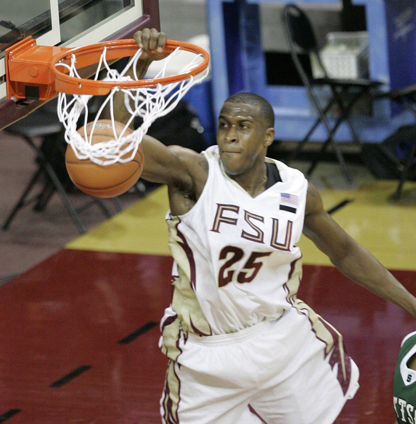 Florida State's Jason Rich dunks on a break away steal against Stetson in the first half of a college basketball game on Friday Nov. 30, 2007 in Tallahassee, Fla. (AP Photo/Steve Cannon)