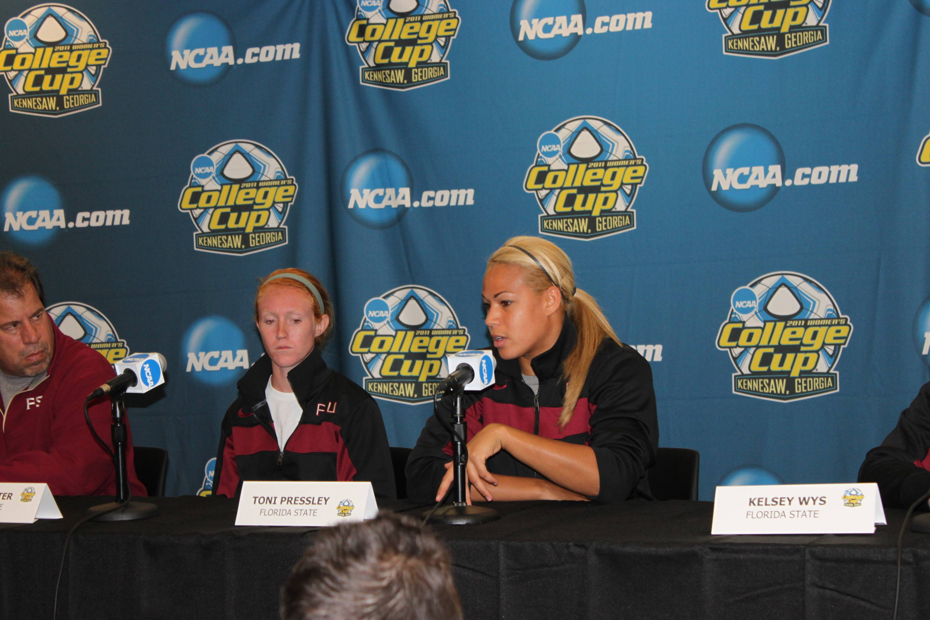 Senior defender Toni Pressley answers a question at Thursday's press conference.