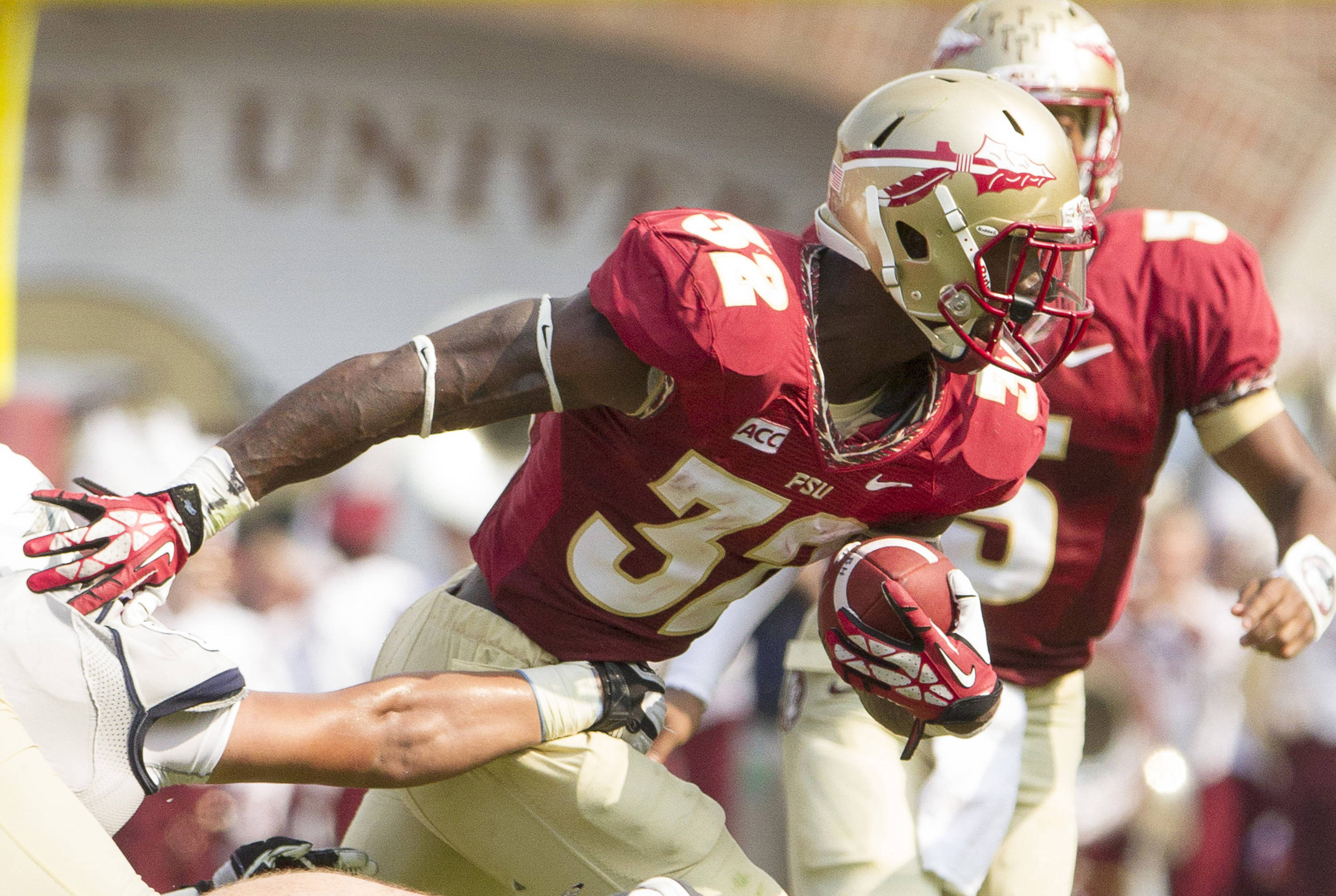 James Wilder, Jr. (32) carries the ball during FSU's 62-7 win over Nevada on Saturday, Sept 14, 2013 in Tallahassee, Fla.