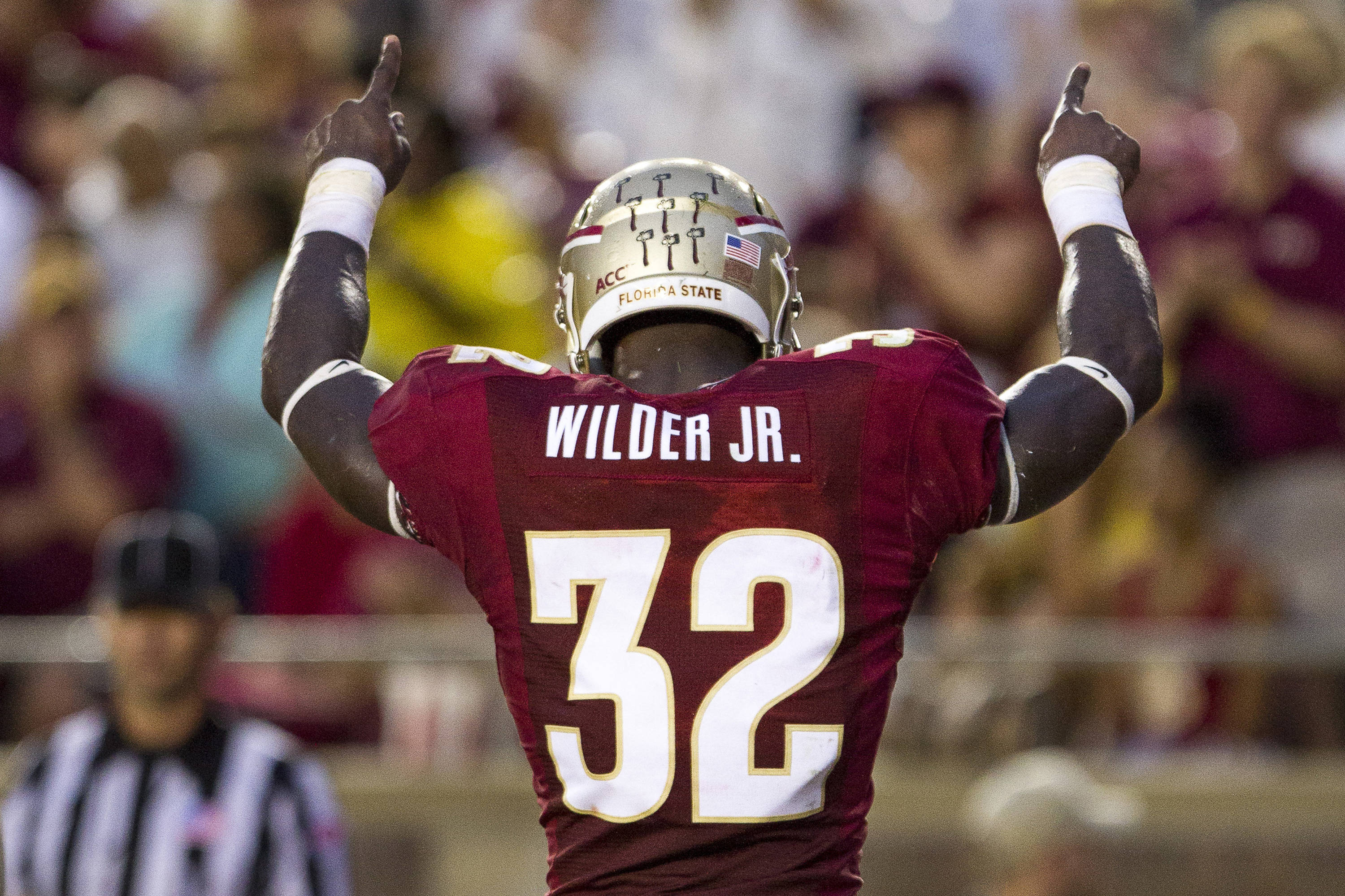 James Wilder, Jr. (32) celebrates after a touchdown during FSU Football's 54-6 win over Bethune-Cookman on September 21, 2013 in Tallahassee, Fla