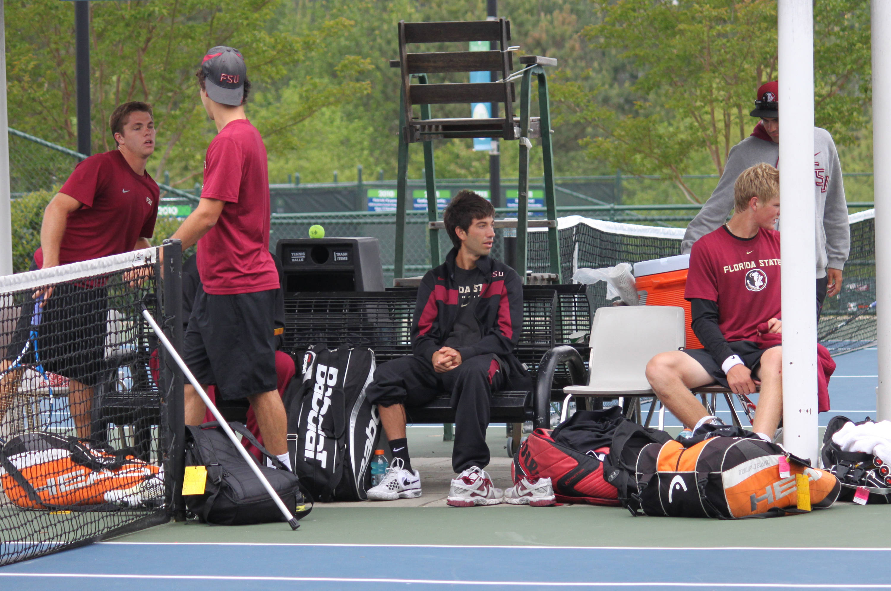 Team getting ready for doubles.
