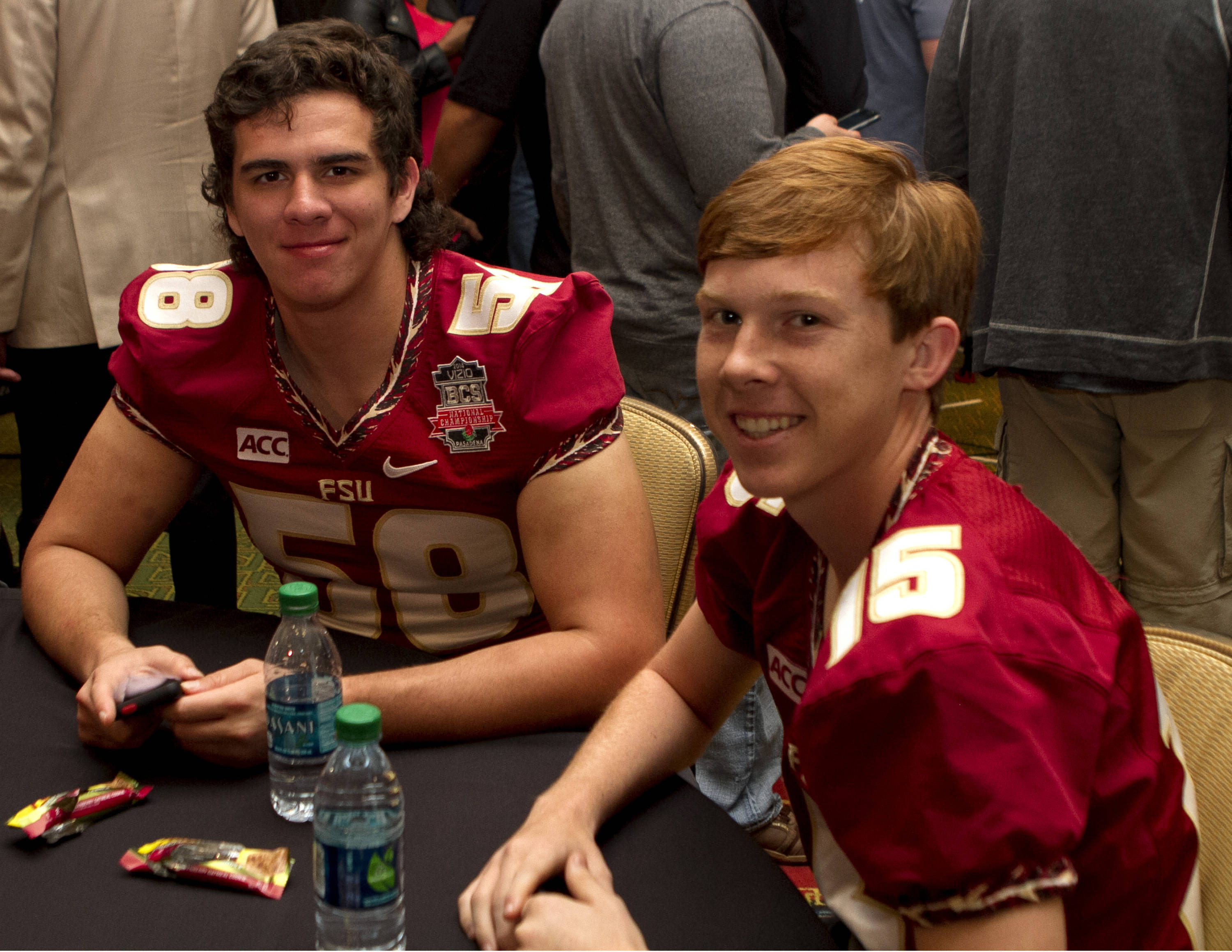 Ryan Alicea (58) and Matthew Finn (15), FSU at BCS Championship Media Day,  1-04-14,  (Photo by Steve Musco)