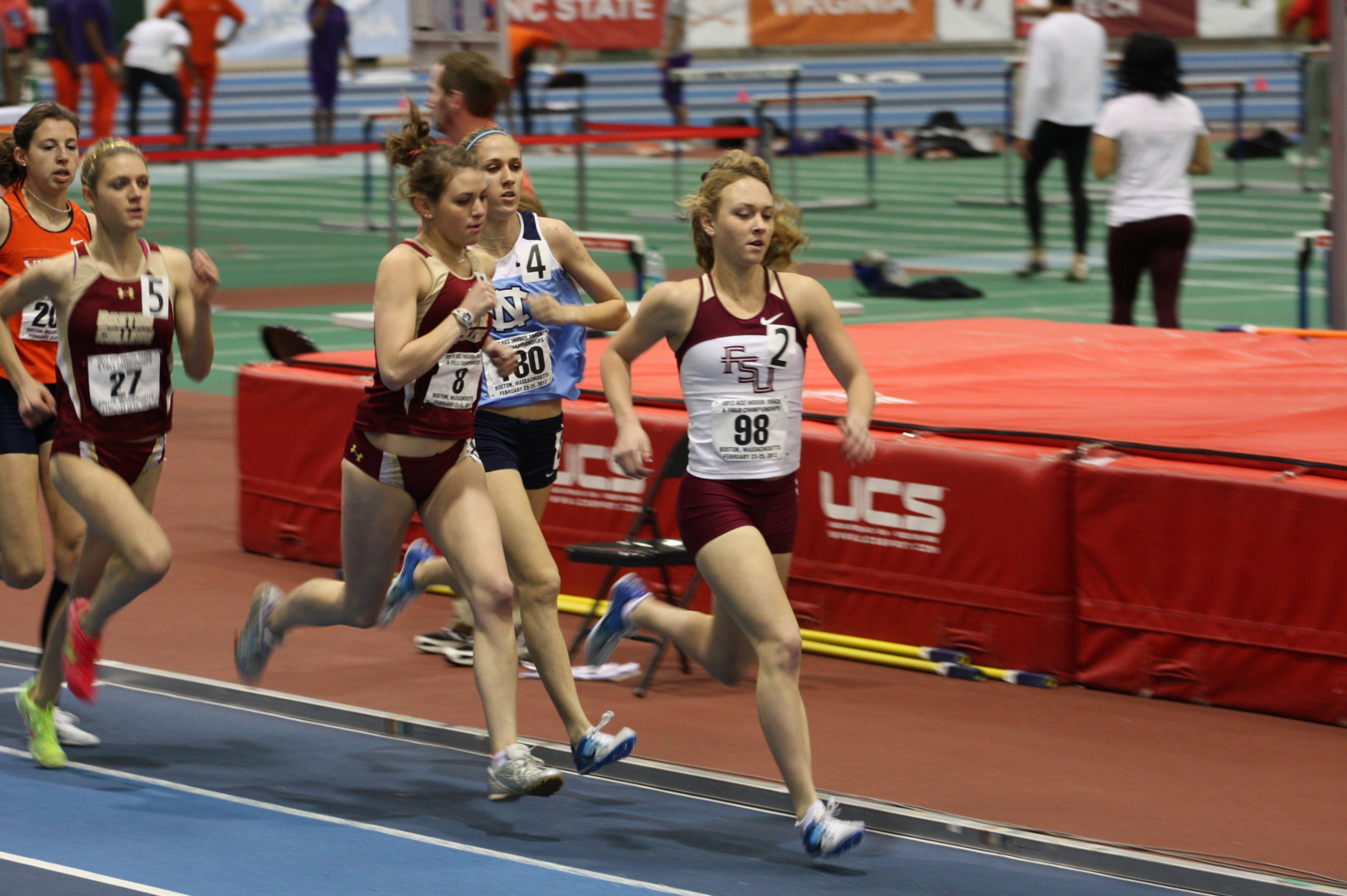 Aubree Worden leads the way early in her mile preliminary heat. She was one of three FSU freshmen - joining Colleen Quigley and Linden Hall - to qualify for Saturday's final.