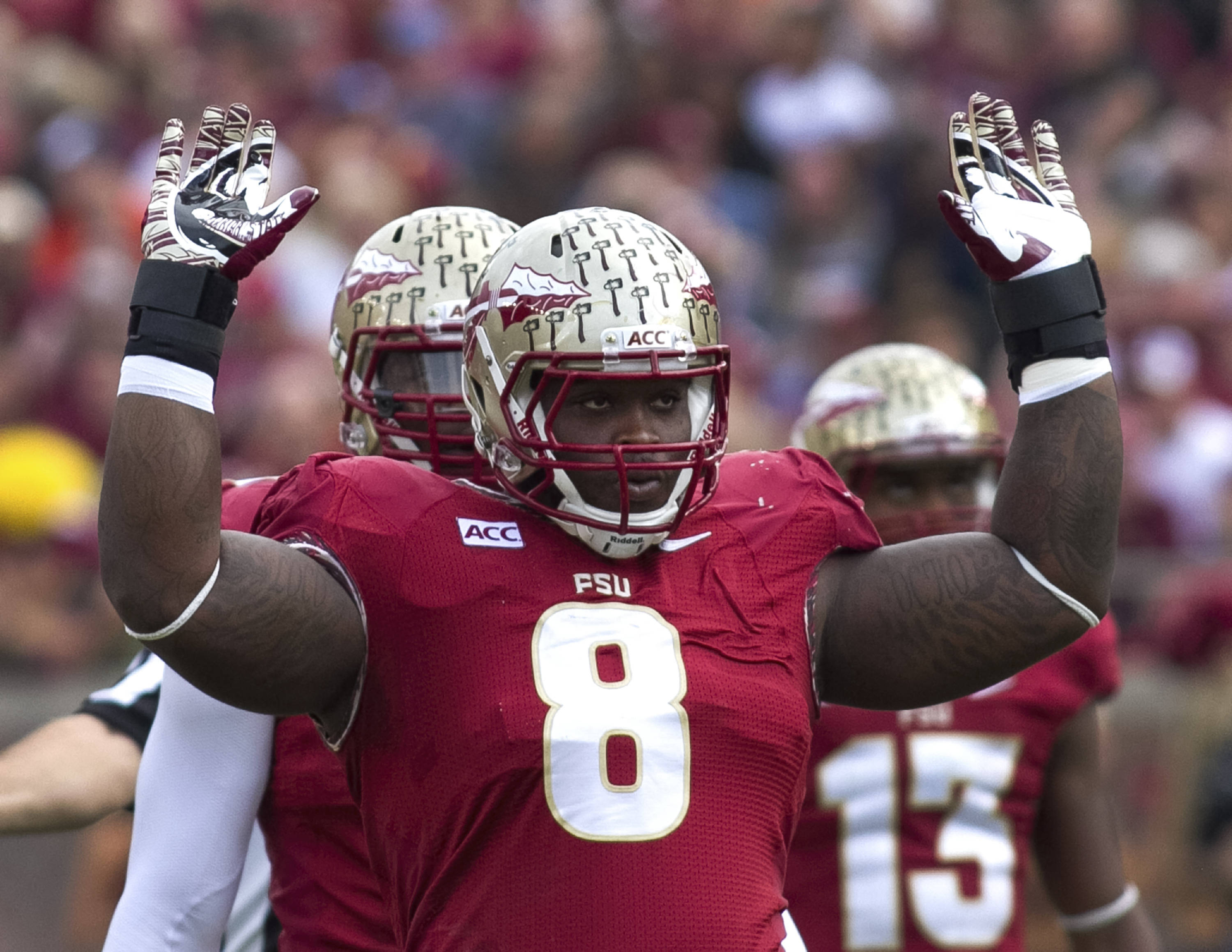 Timmy Jernigan (8), FSU vs Syracuse, 11-16-13, (Photo by Steve Musco)
