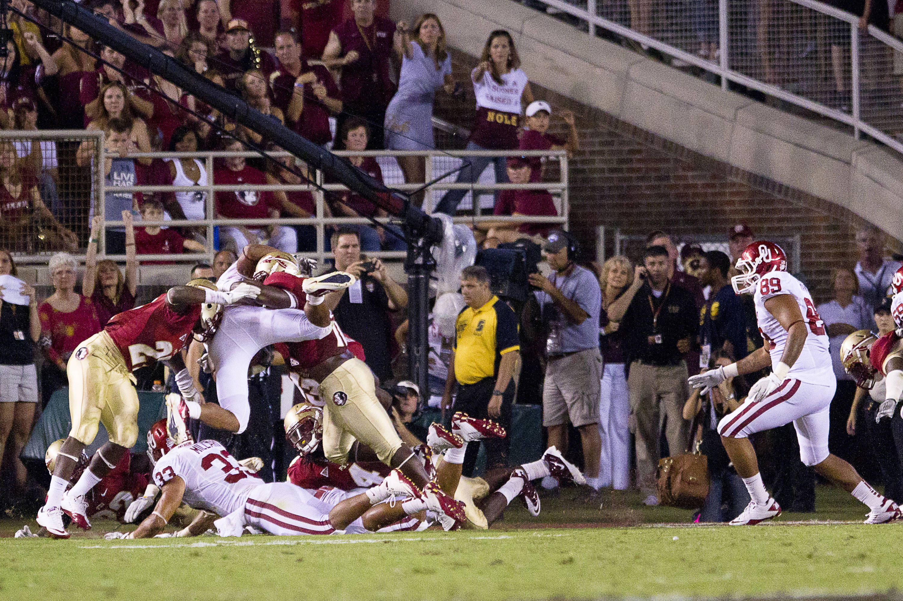 FSU defenders stop an Oklahoma ball carrier at the goal line during the game against Oklahoma on September 17, 2011.