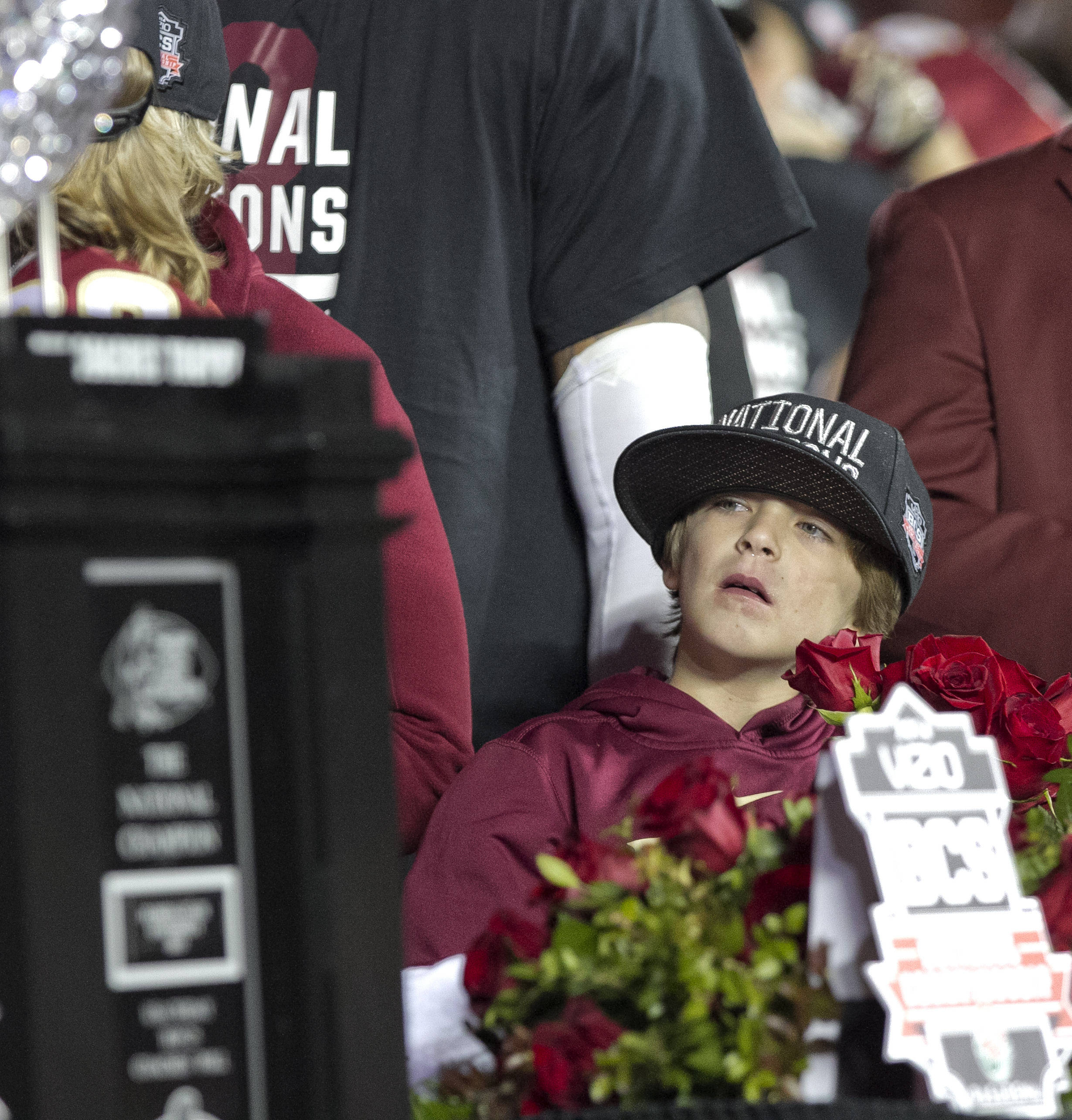 Ethan Fisher watching the festivities, BCS Championship, FSU vs Auburn, Rose Bowl, Pasadena, CA,  1-06-14,  (Photo by Steve Musco)