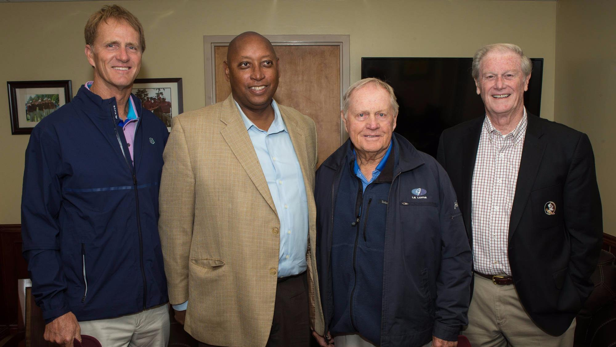 Jack Nicklaus II, FSU Athletics Director/Vice President Stan Wilcox, Jack Nicklaus and President John Thrasher.