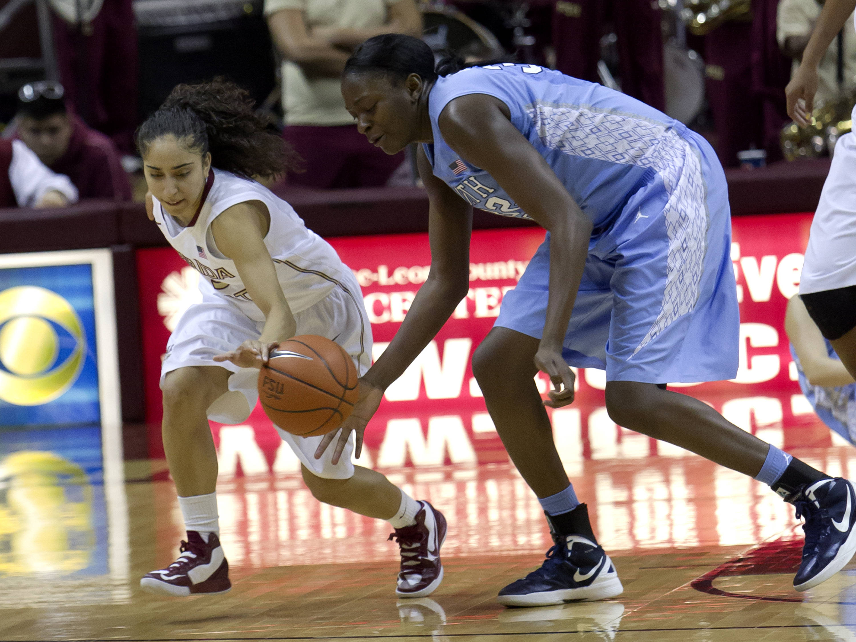 Cheetah Delgado (5), FSU vs NC, 02/17/13. (Photo by Steve Musco)