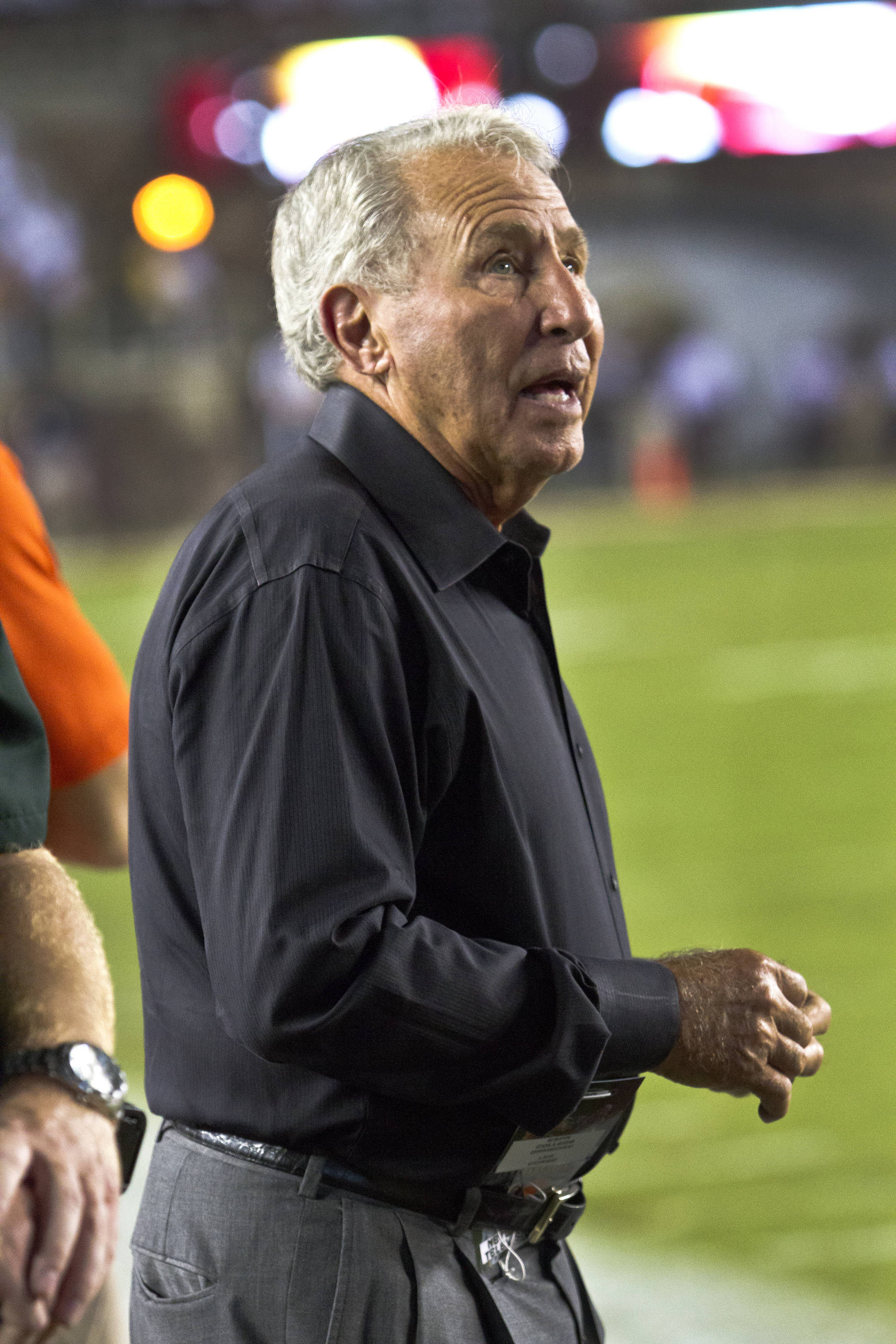 ESPN's Lee Corso, FSU vs Clemson, 9/22/12 (Photo by Steve Musco)