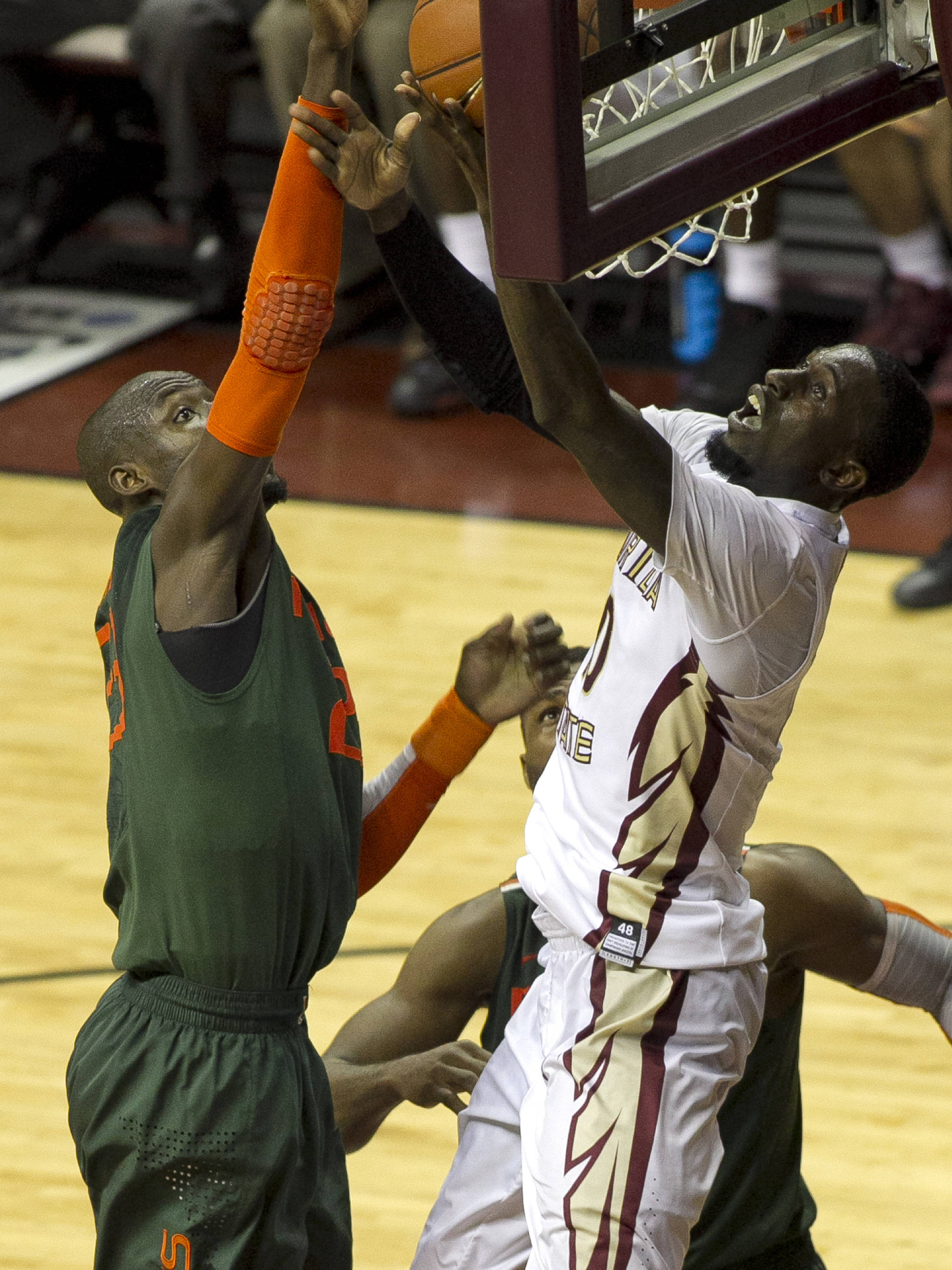 Okaro White (10) fights for his shot, FSU vs Miami, 2-10-14, (Photo's by Steve Musco)