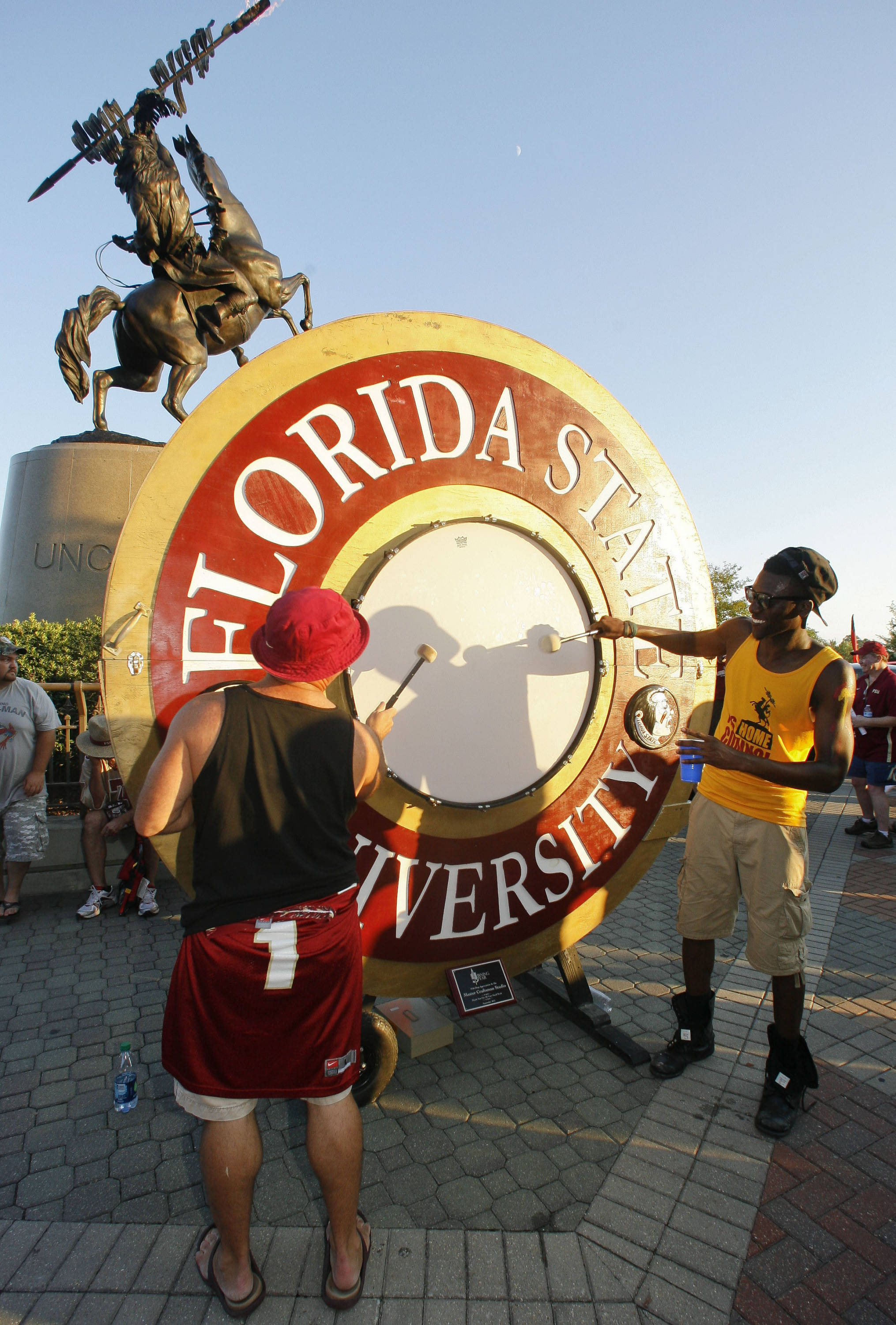Fans beat the Spirit Drum before the football game between Florida State and Clemson . (AP Photo/Phil Sears)