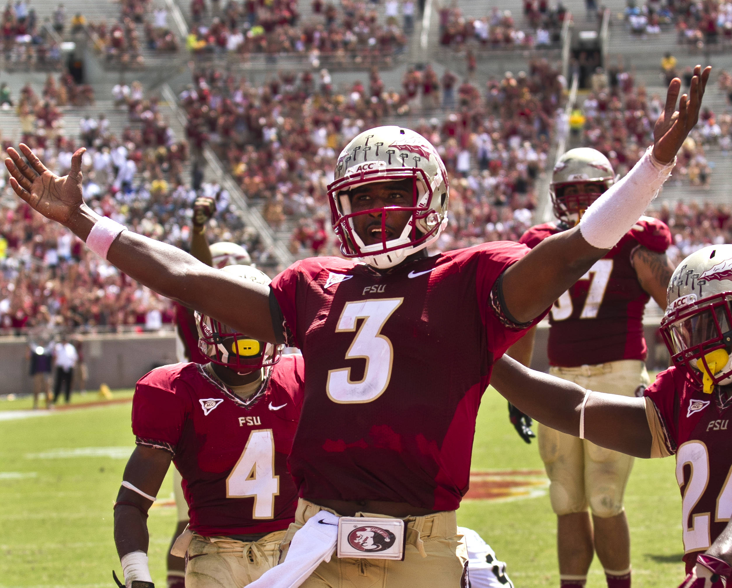 EJ Manuel (3) celebrating his touchdown, FSU vs Wake Forest, 9/15/12 (Photo by Steve Musco)
