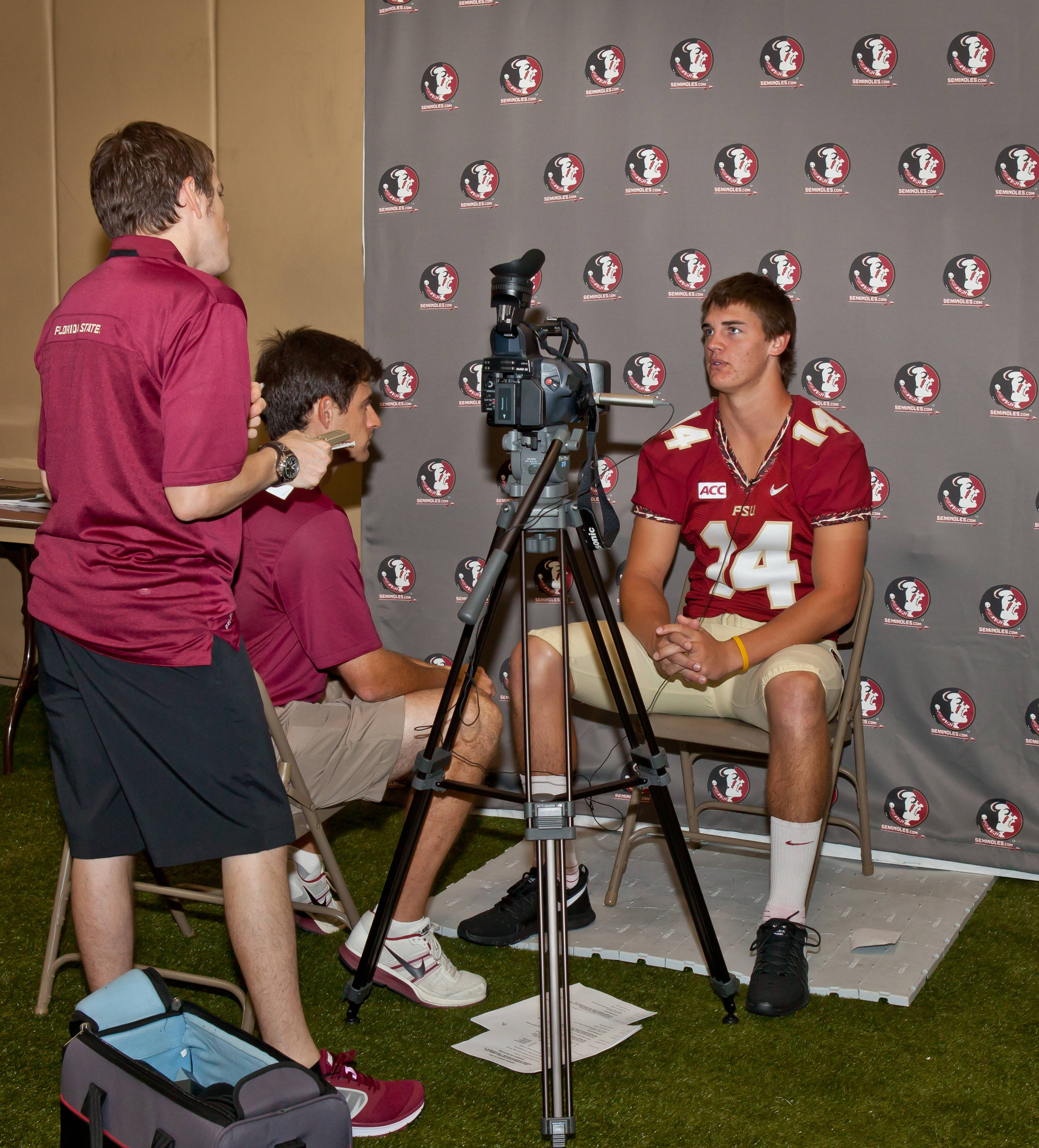 FSU Electronic Media group interviews Jacob Coker in the Turf Room.