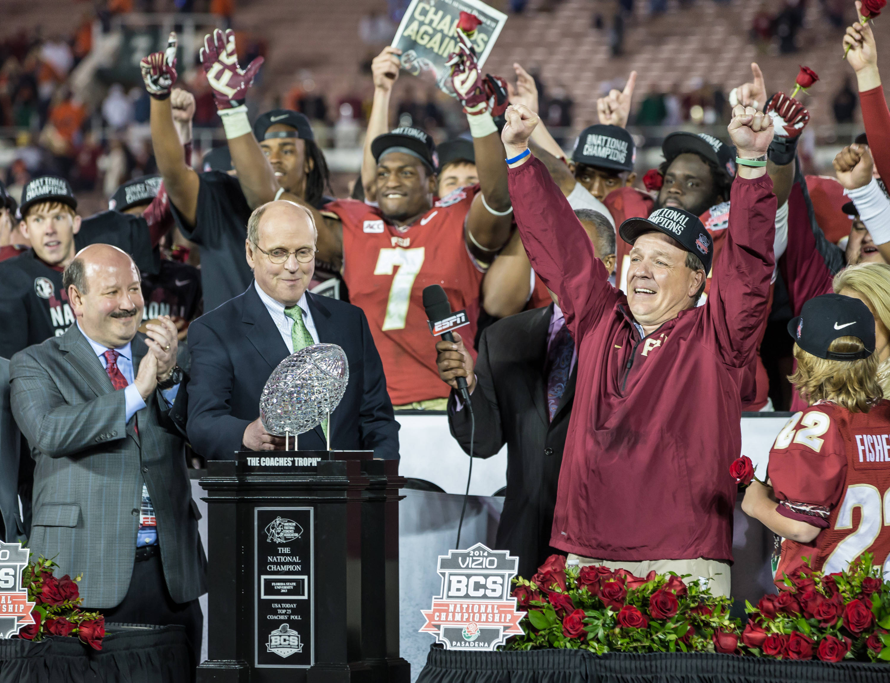 Jimbo Fisher celebrates a National Championship.