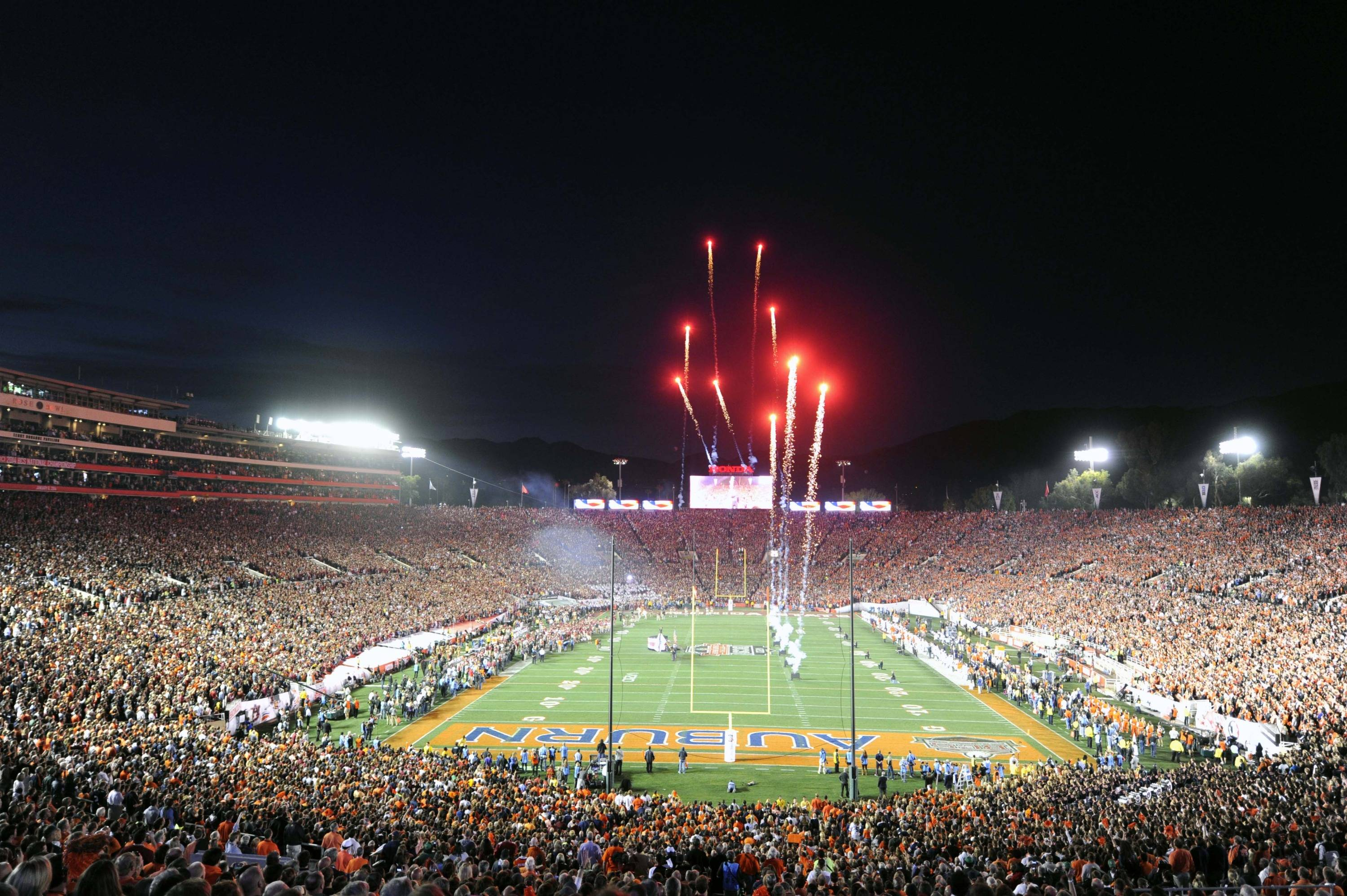 Jan 6, 2014; Pasadena, CA, USA; General view of the Rose Bowl during fireworks before the 2014 BCS National Championship game between the Auburn Tigers and the Florida State Seminoles.  Mandatory Credit: Kirby Lee-USA TODAY Sports