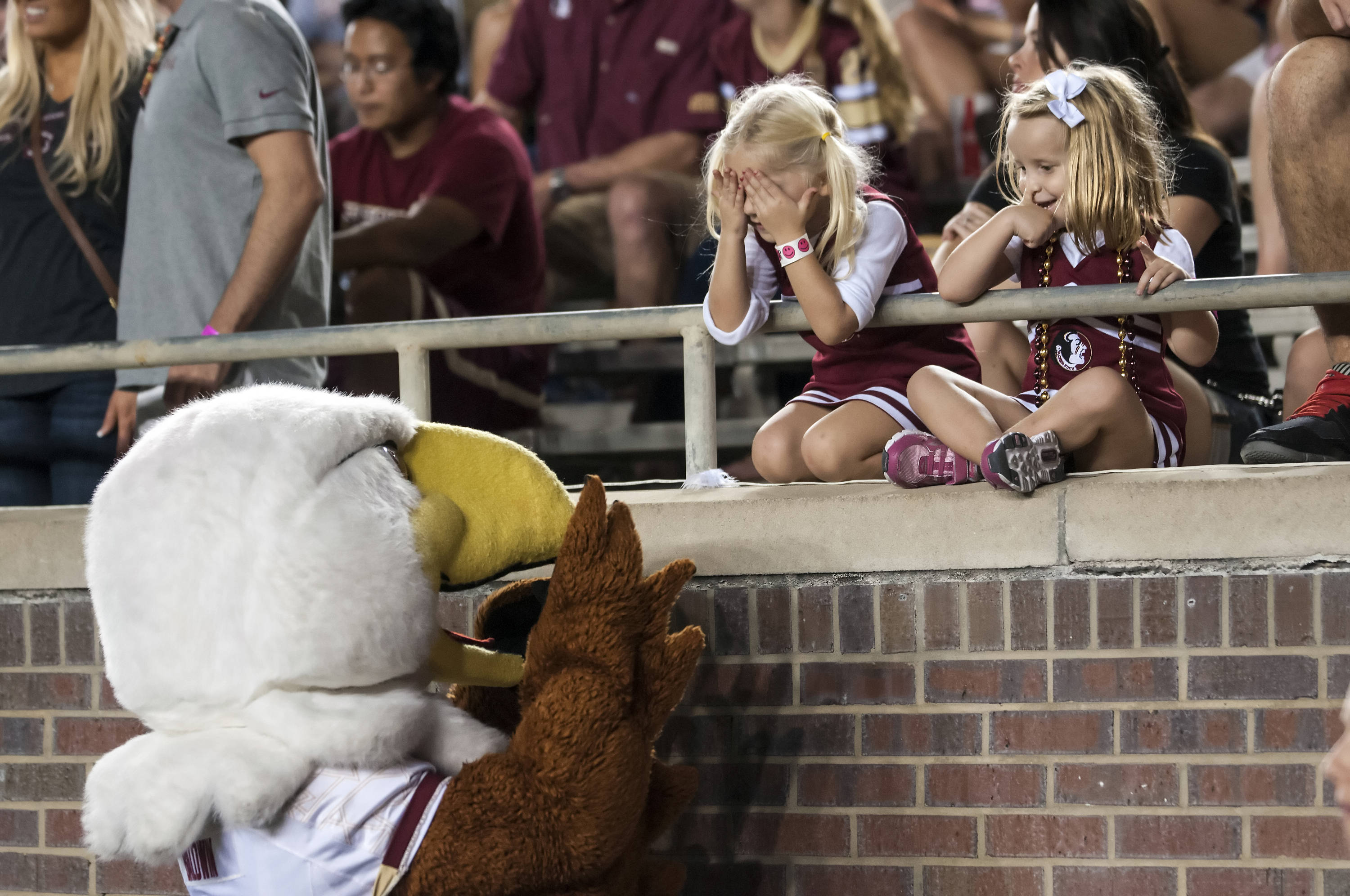 Fans interact with theBoston College mascot