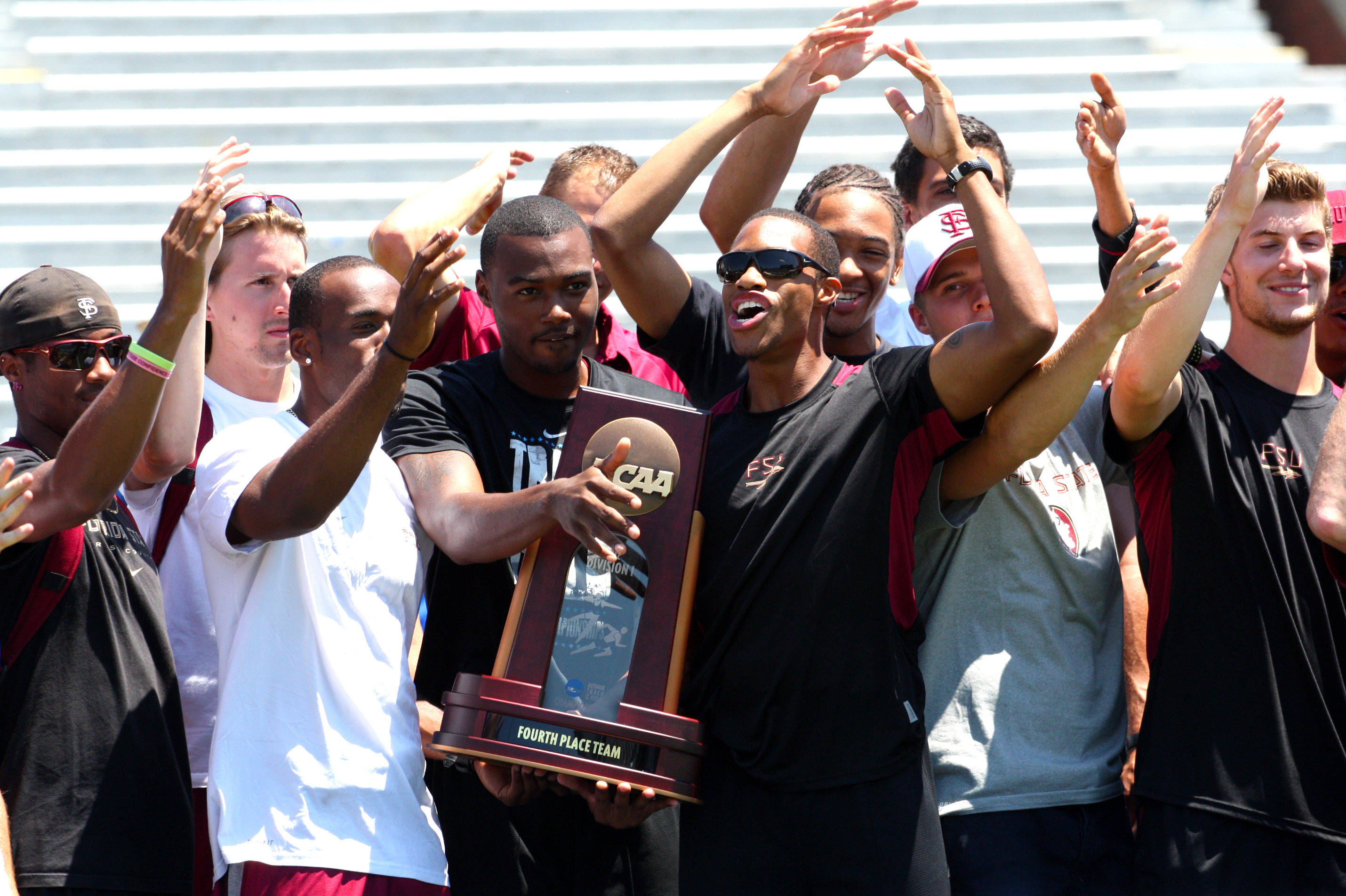 The Seminoles whoop it up after collecting their NCAA hardware