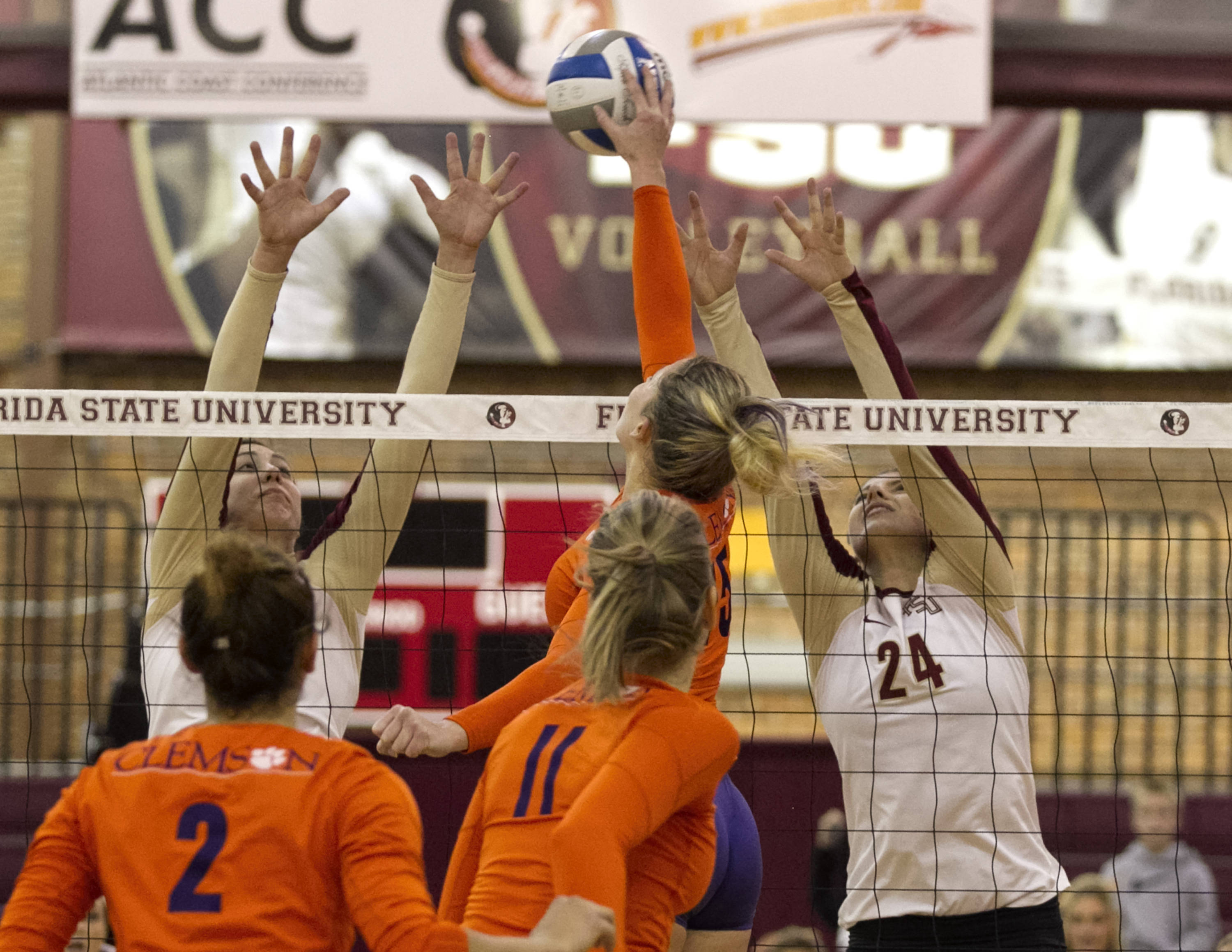 Sarah Burrington (12), Olivera Medic (24), FSU vs Clemson, 11-27-13,  (Photo by Steve Musco)