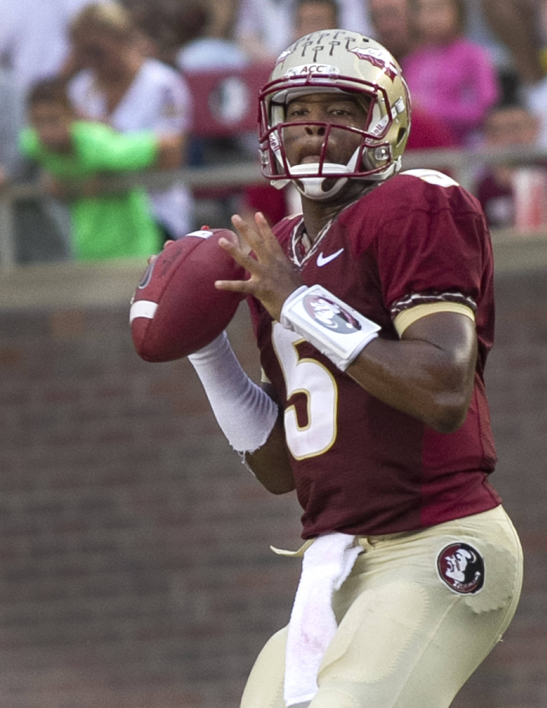 Jameis Winston (5), FSU vs Bethune-Cookman,  9-21-13, (Photo by Steve Musco)