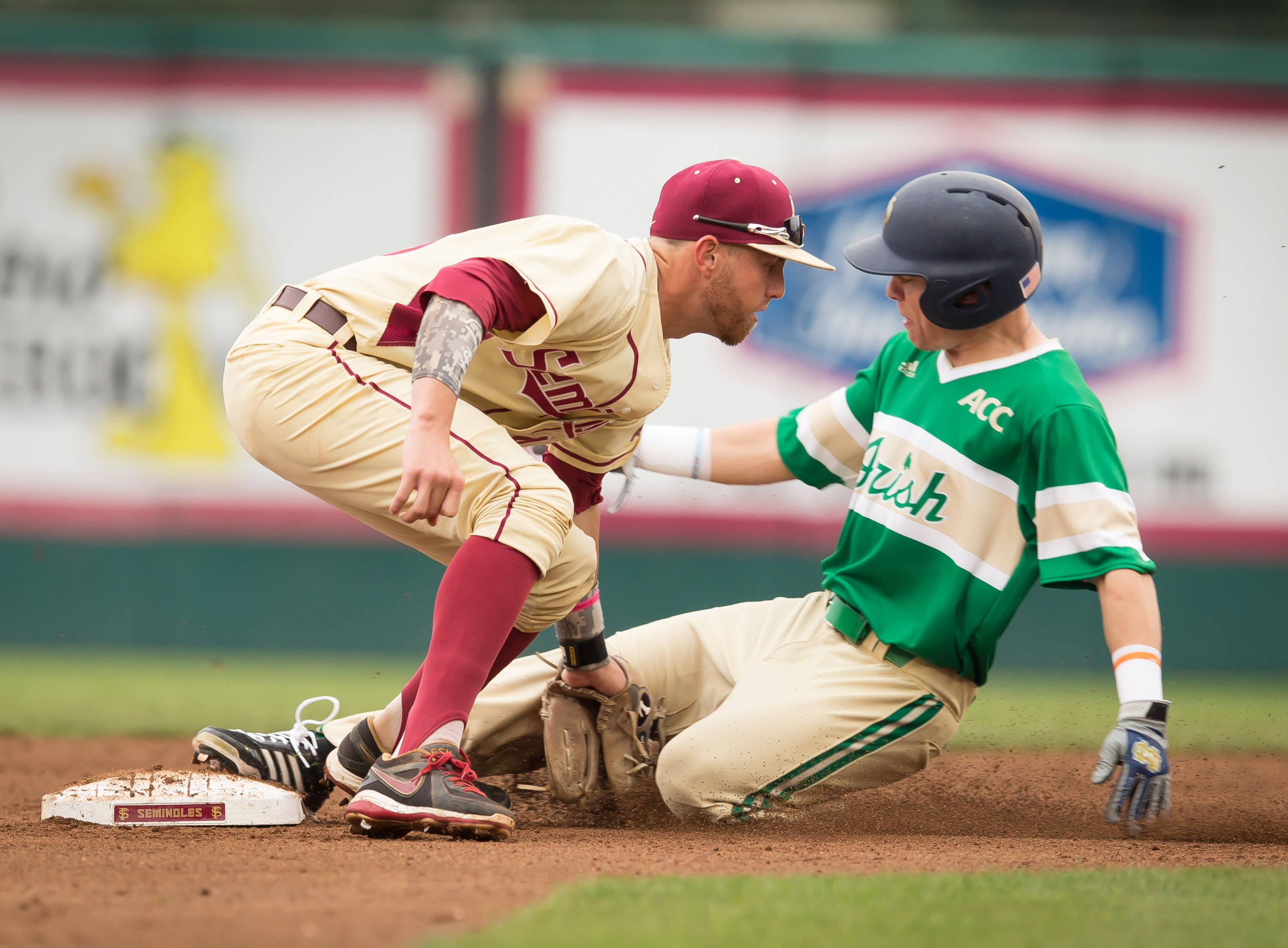 Casey Smit (43) tags out an Irish runner attempting to steal second.