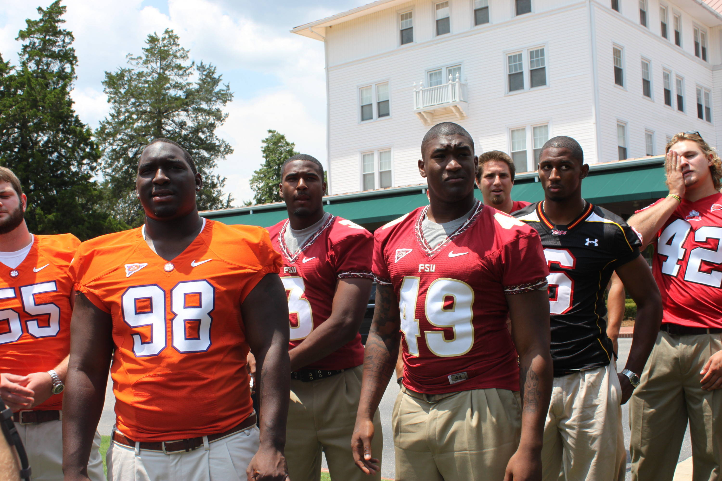 Brandon Jenkins and EJ Manuel on the lawn at Pinehurst for the ACC Kickoff group photo.