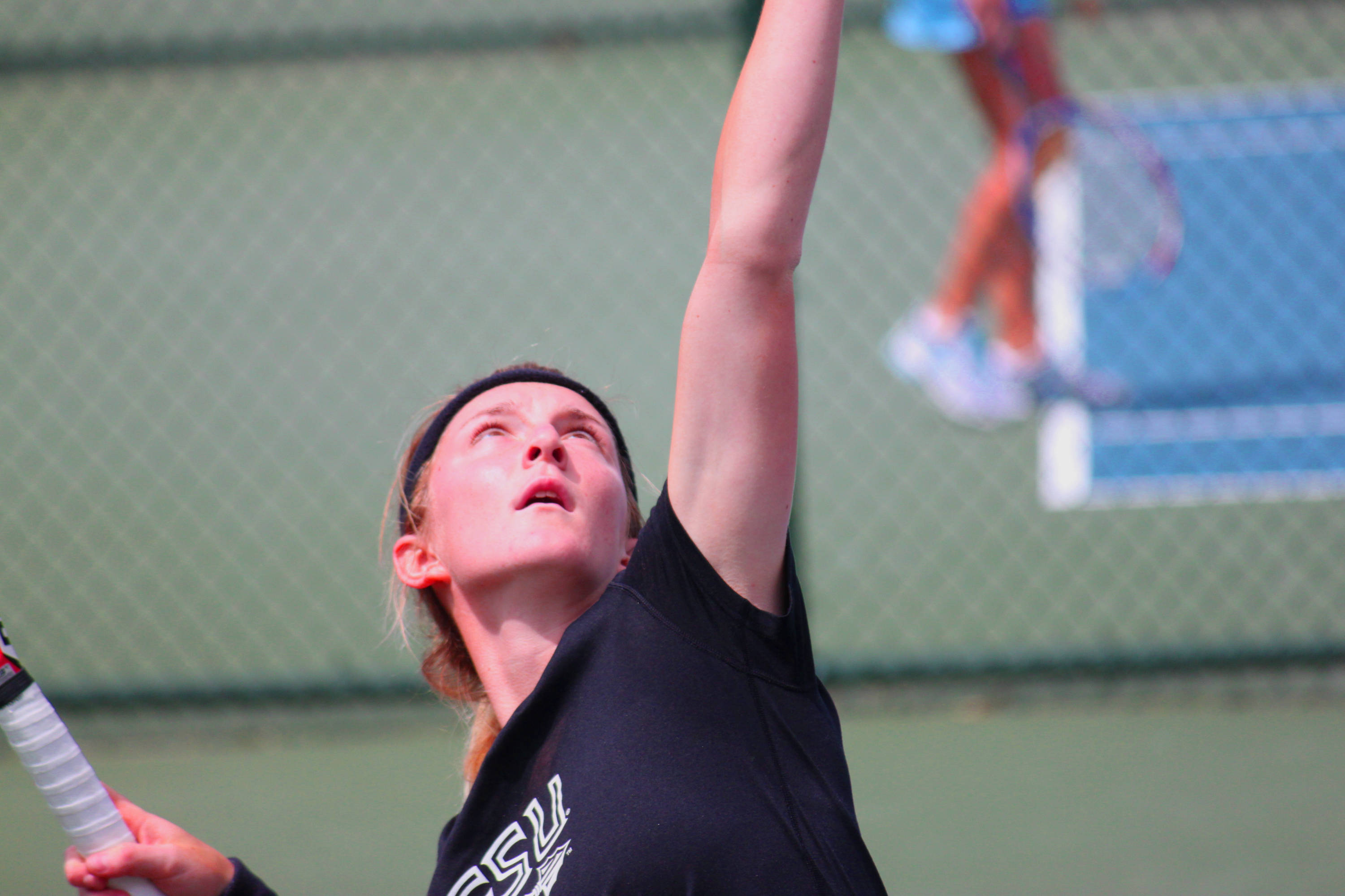 Ruth Seaborne unleashing her wicked serve.
