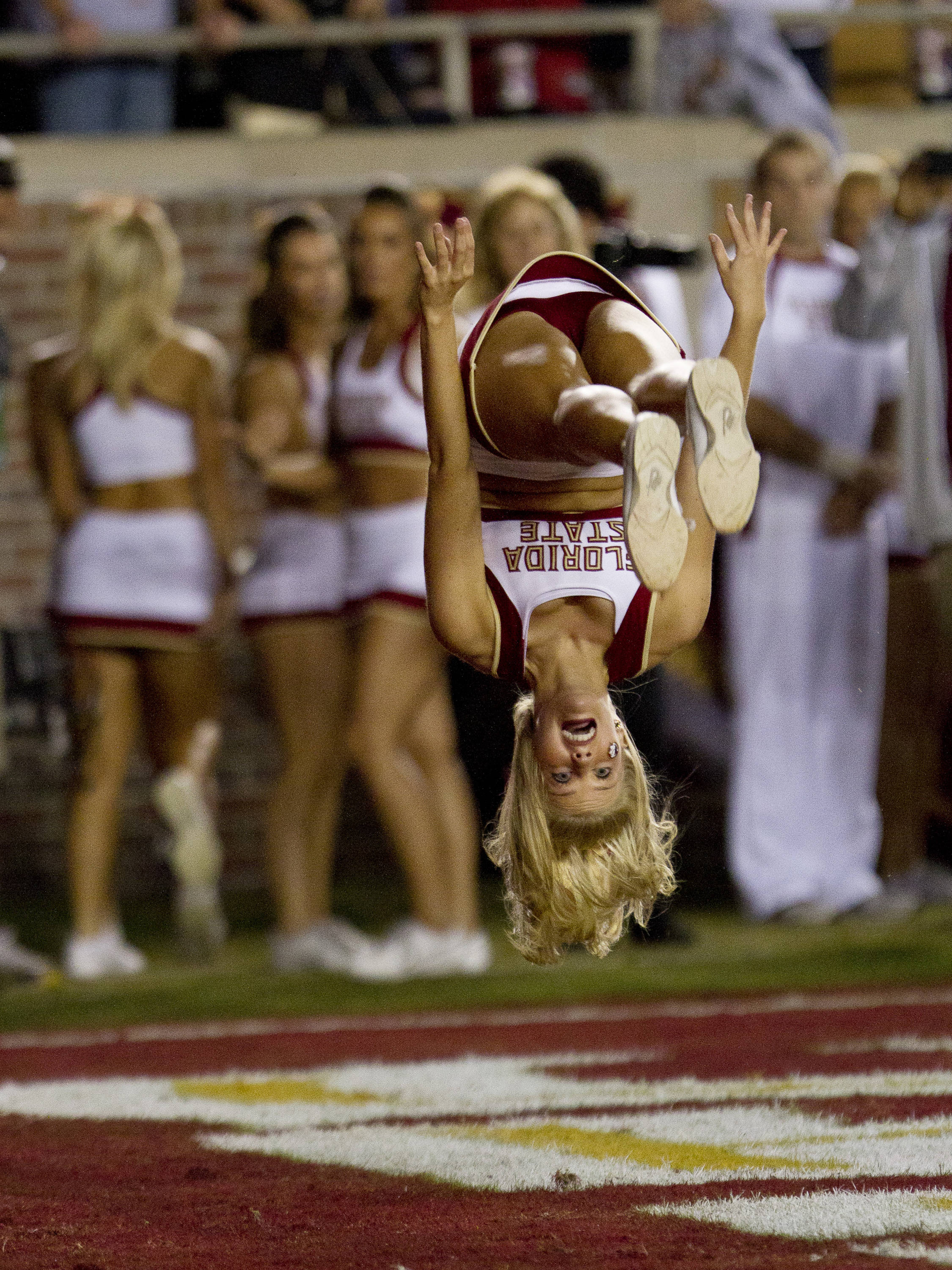 An FSU cheerleader celebrates after the 'Noles score during the first half of the game against Virginia on November 19, 2011.