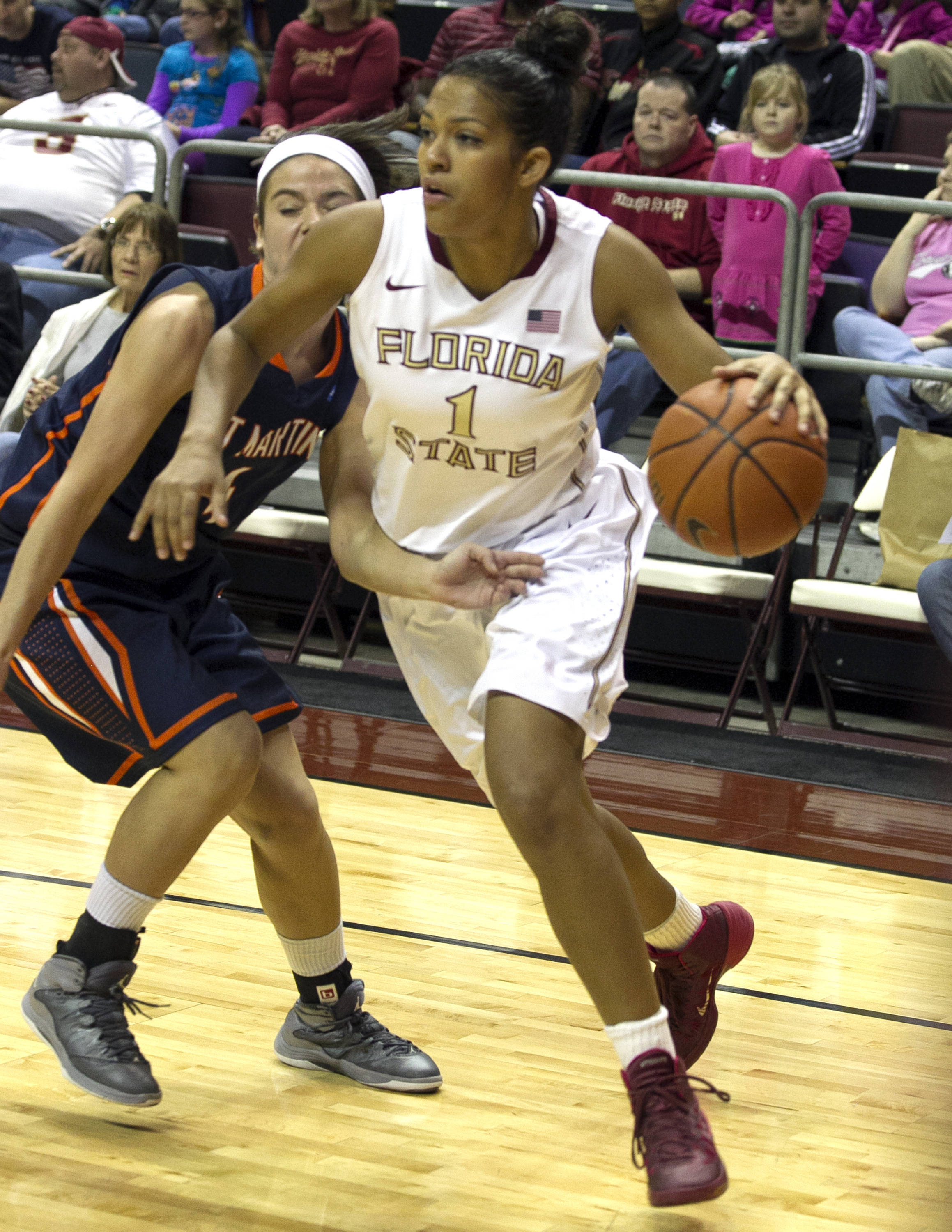 Morgan Jones (1) beating her defender, FSU vs UT Martin, 12-28-13,  (Photo by Steve Musco)