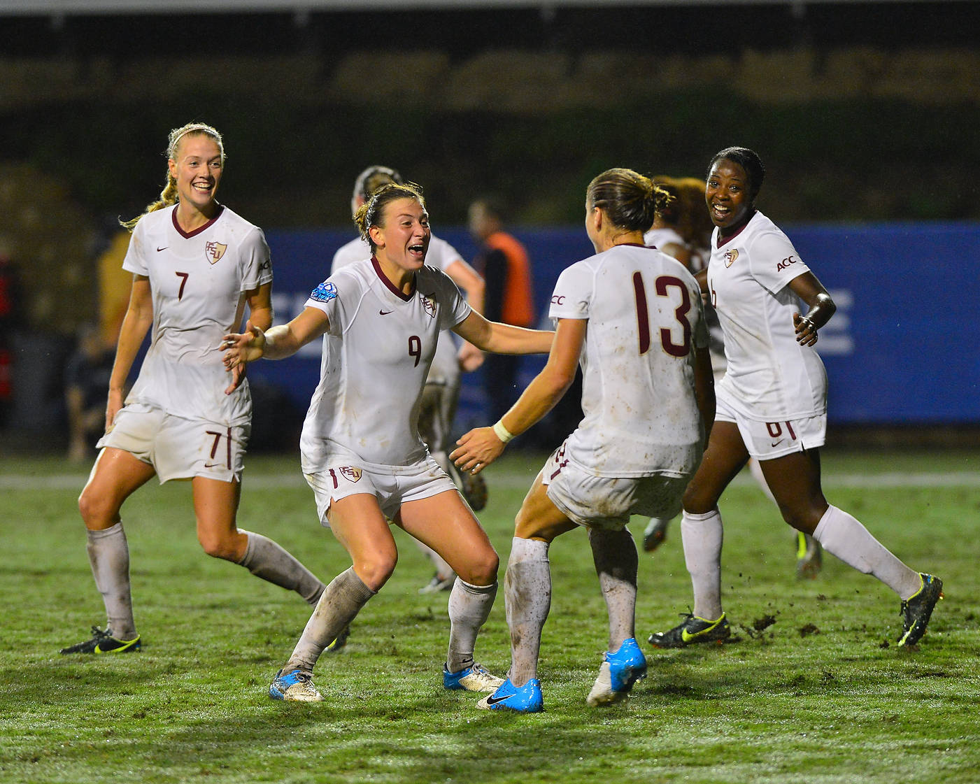 The Seminoles celebrate after scoring the equalizer with under one minute left in regulation
