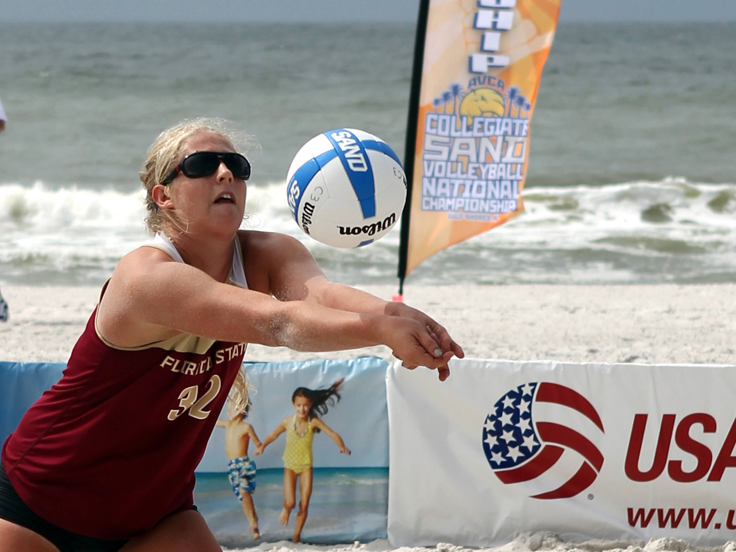 Katherine Plessy (32), AVCA Collegiate Sand Volleyball National Championships,  Gulf Shores, Alabama,05/03/13 . (Photo by Steve Musco)