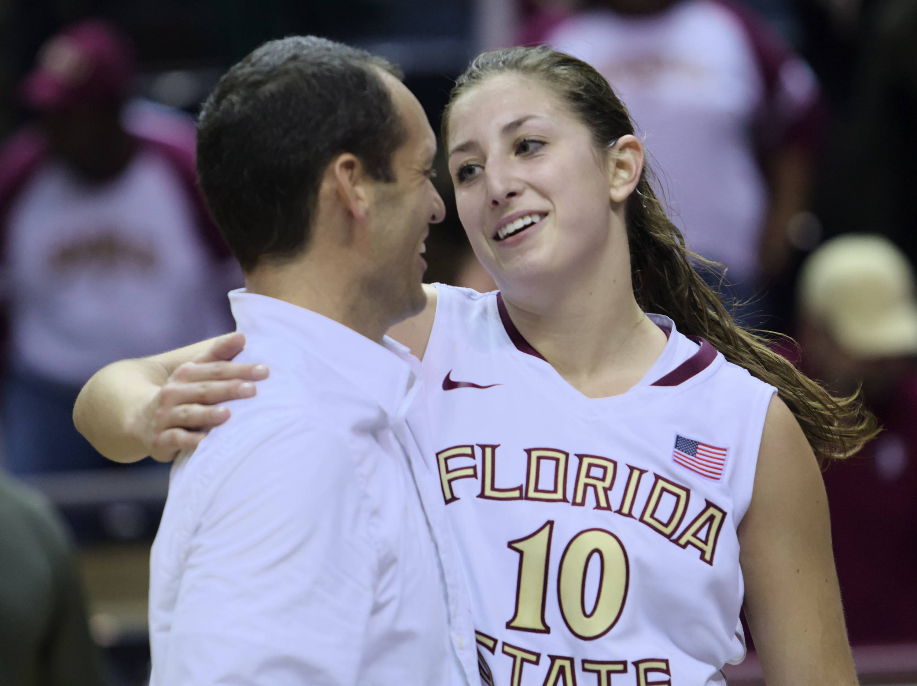 Associate Head Coach Lance White, Leonor Rodriguez (10), FSU vs Iowa, 11/28/12. (Photo by Steve Musco)