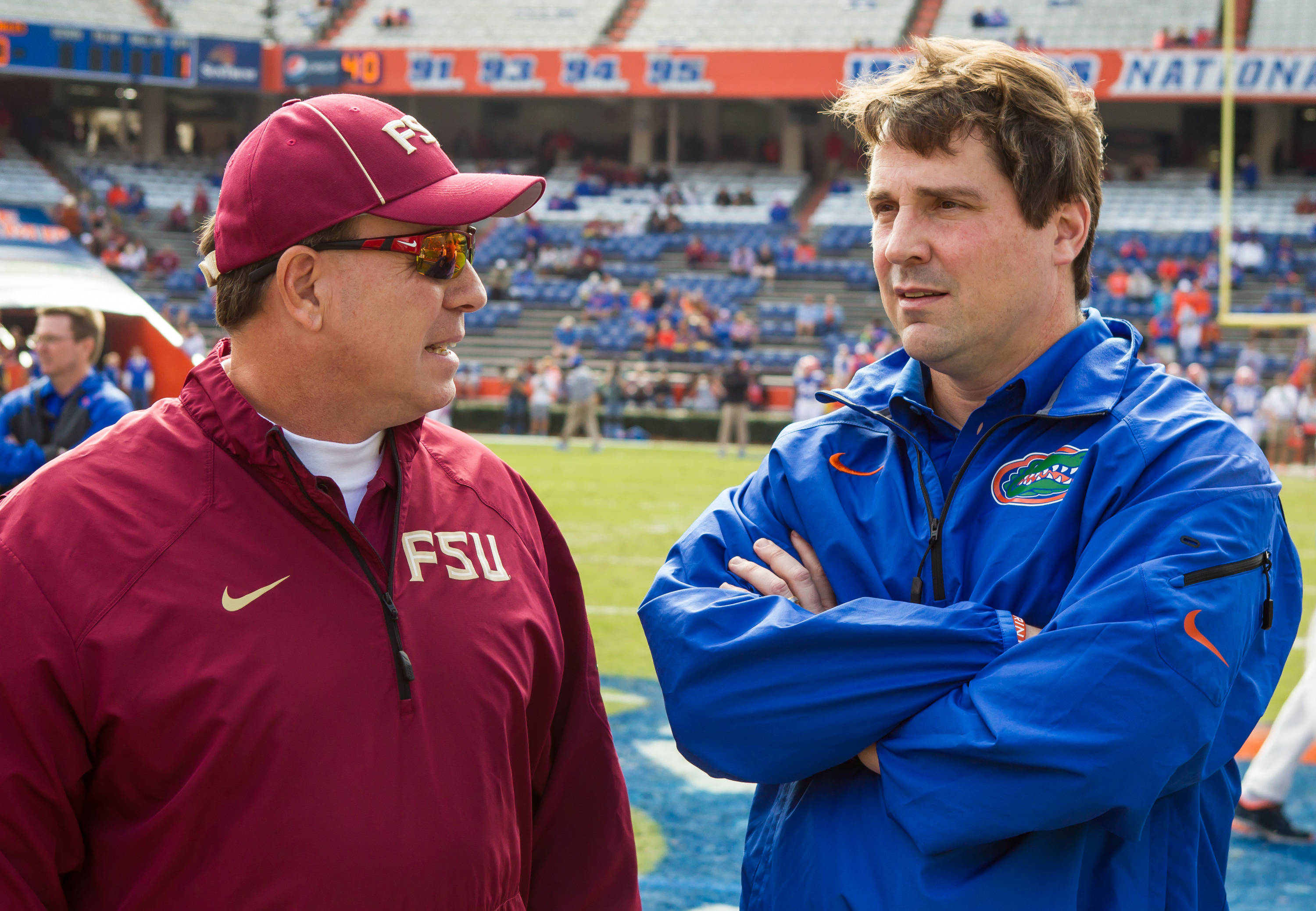 Jimbo Fisher with Gator Coach Will Muschamp