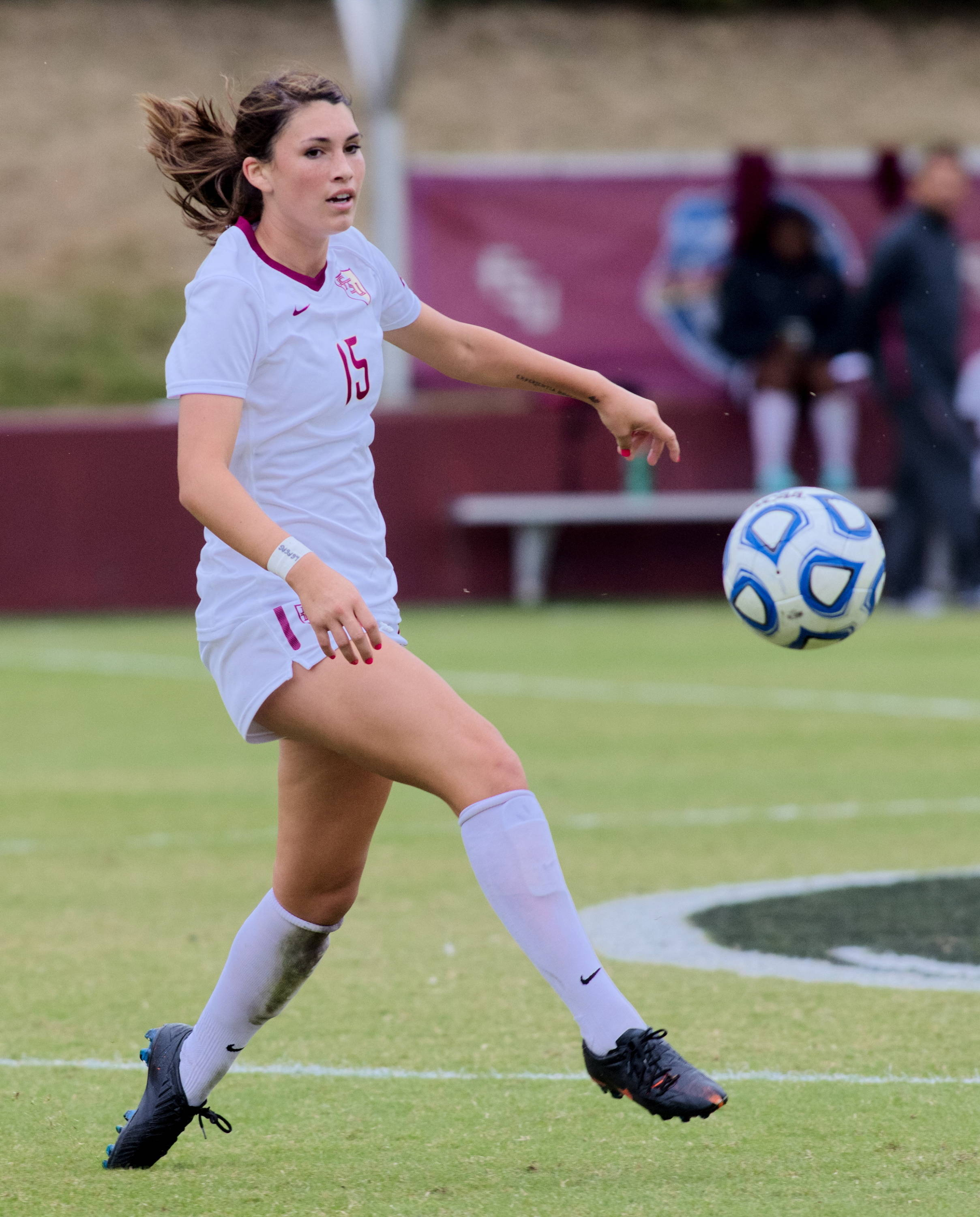 Tiana Brockway (15), FSU vs BC, ACC Tournament, 10/28/12. (Photo by Steve Musco)