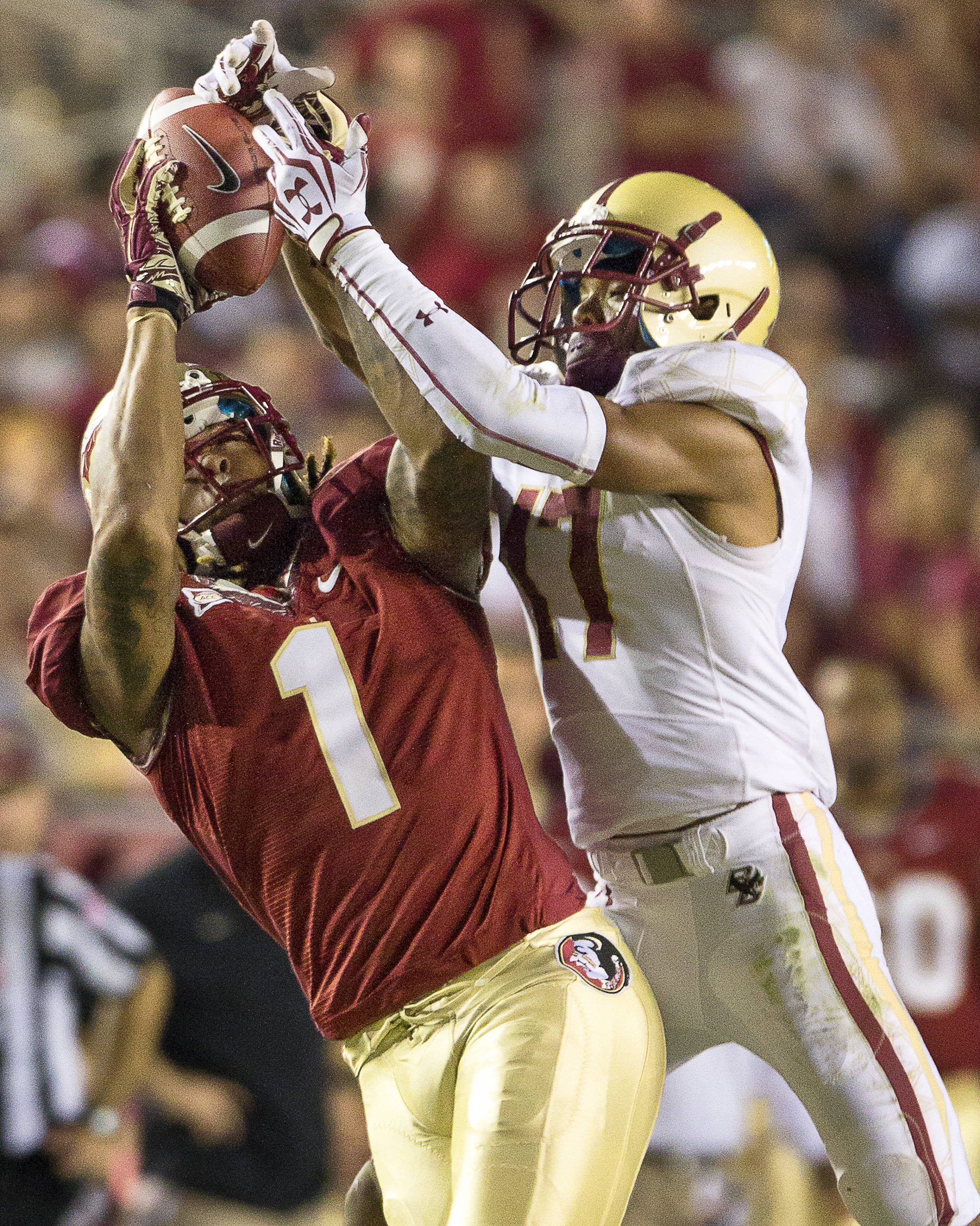 Kelvin Benjamin (1) catches a pass from Clint Trickett during the FSU vs Boston College football game on October 13, 2012 in Tallahassee, Fla.