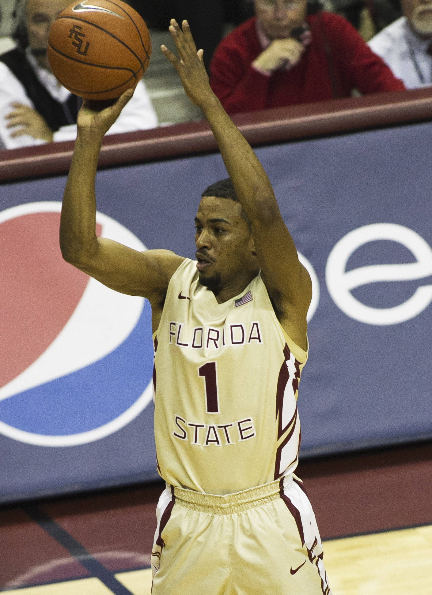 Devon Bookert (1) with  long three, FSU vs Maryland, 1-12-14, (Photo's by Steve Musco)