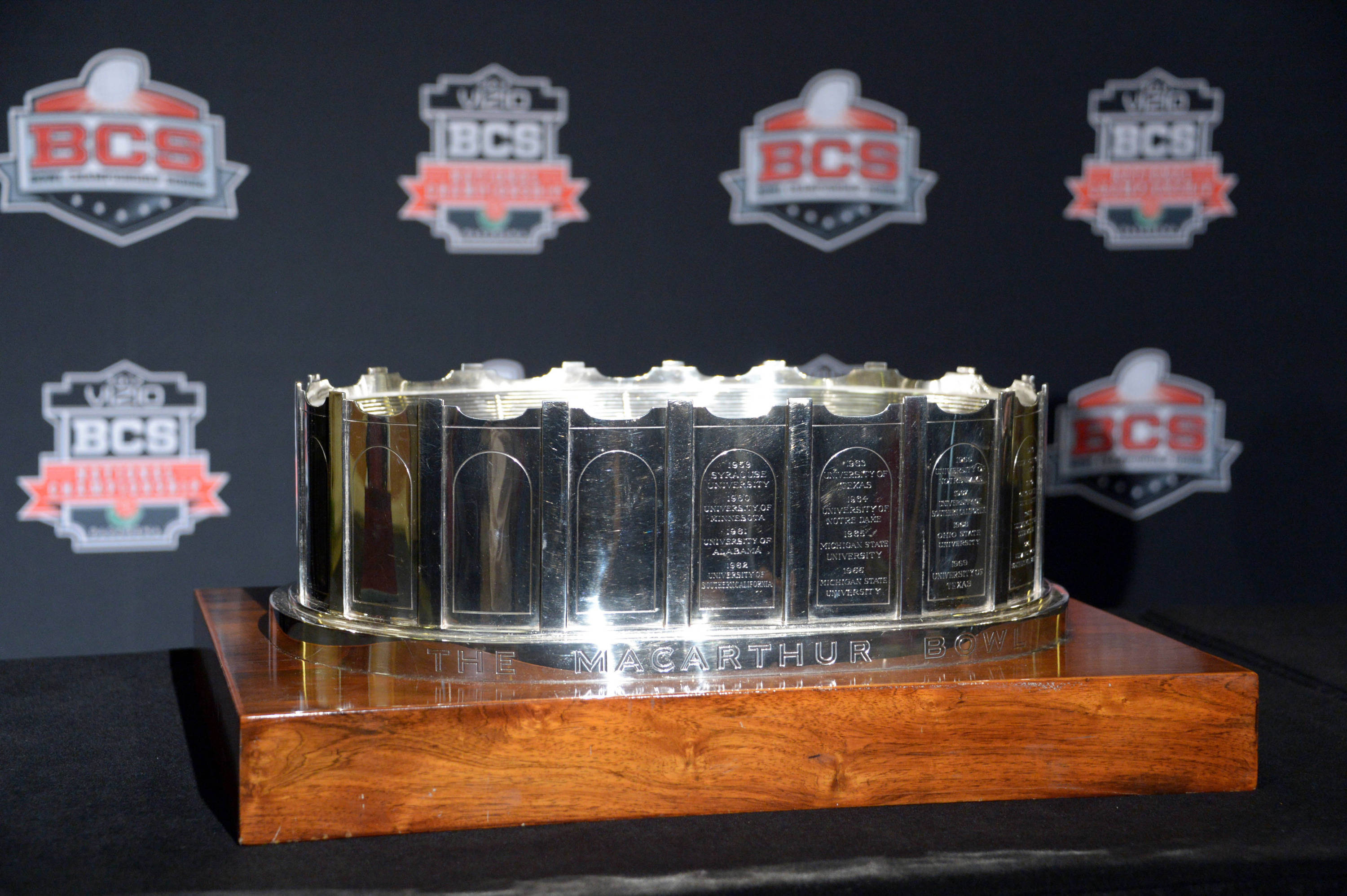 General view of the MacArthur Bowl trophy presented by National Football Foundation at 2014 BCS National Championship press conference at Newport Beach Marriott. Mandatory Credit: Kirby Lee-USA TODAY Sports