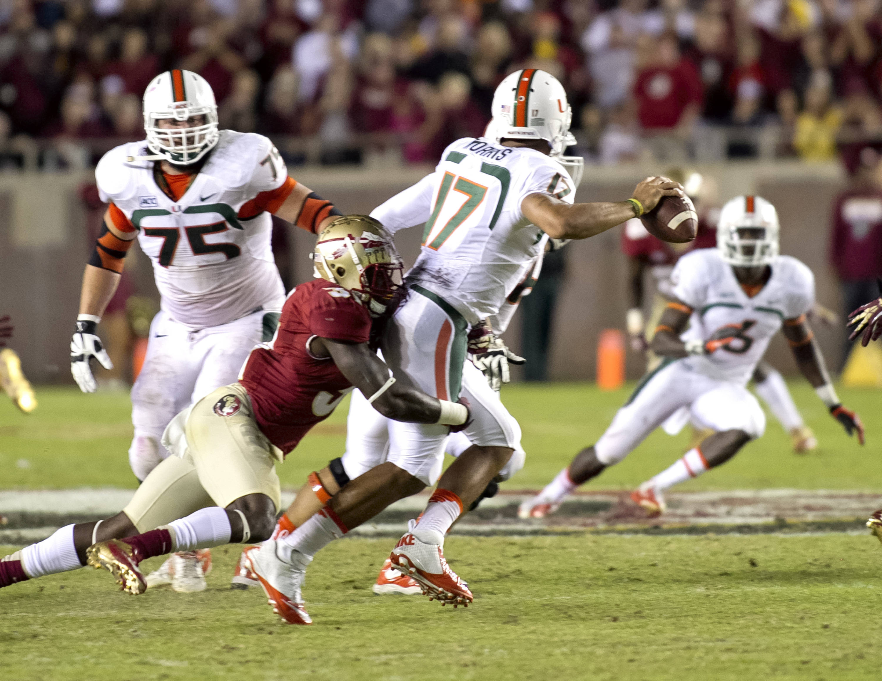Terrence Brooks (31), FSU vs Miami,  11-2-13, (Photo by Steve Musco)