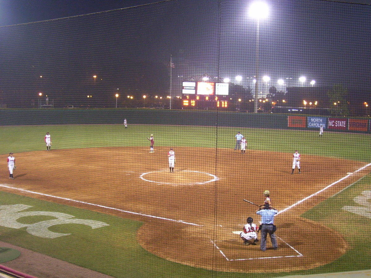 A view of the field at night.