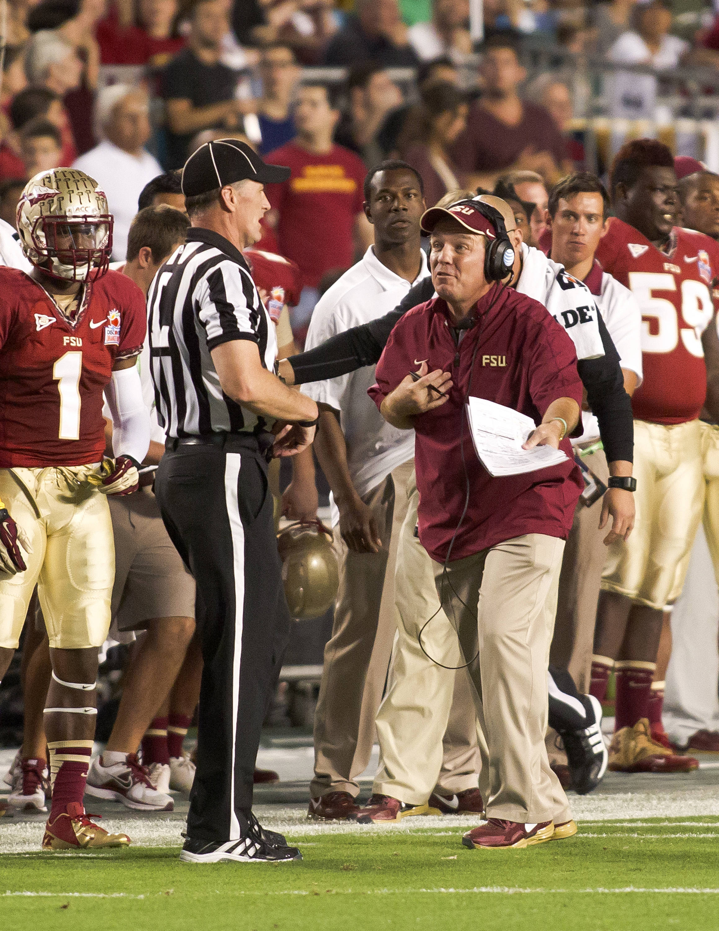 Head Coach Jimbo Fisher questioning a call, FSU vs No. Illinois, 01/01/13. (Photo by Steve Musco)
