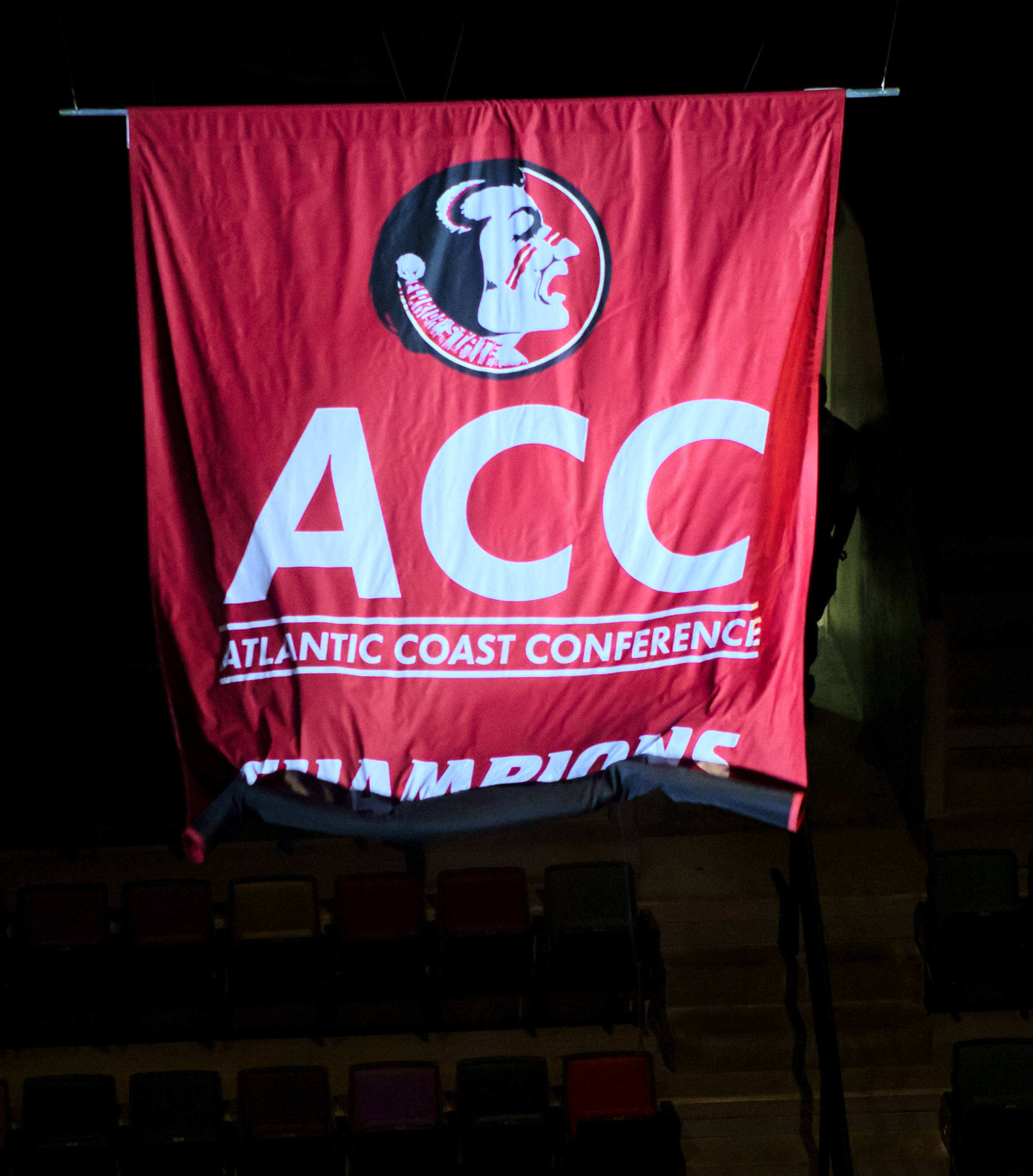Unfurling the ACC Championship banner, FSU vs South Alabama, 11/09/12. (Photo by Steve Musco)