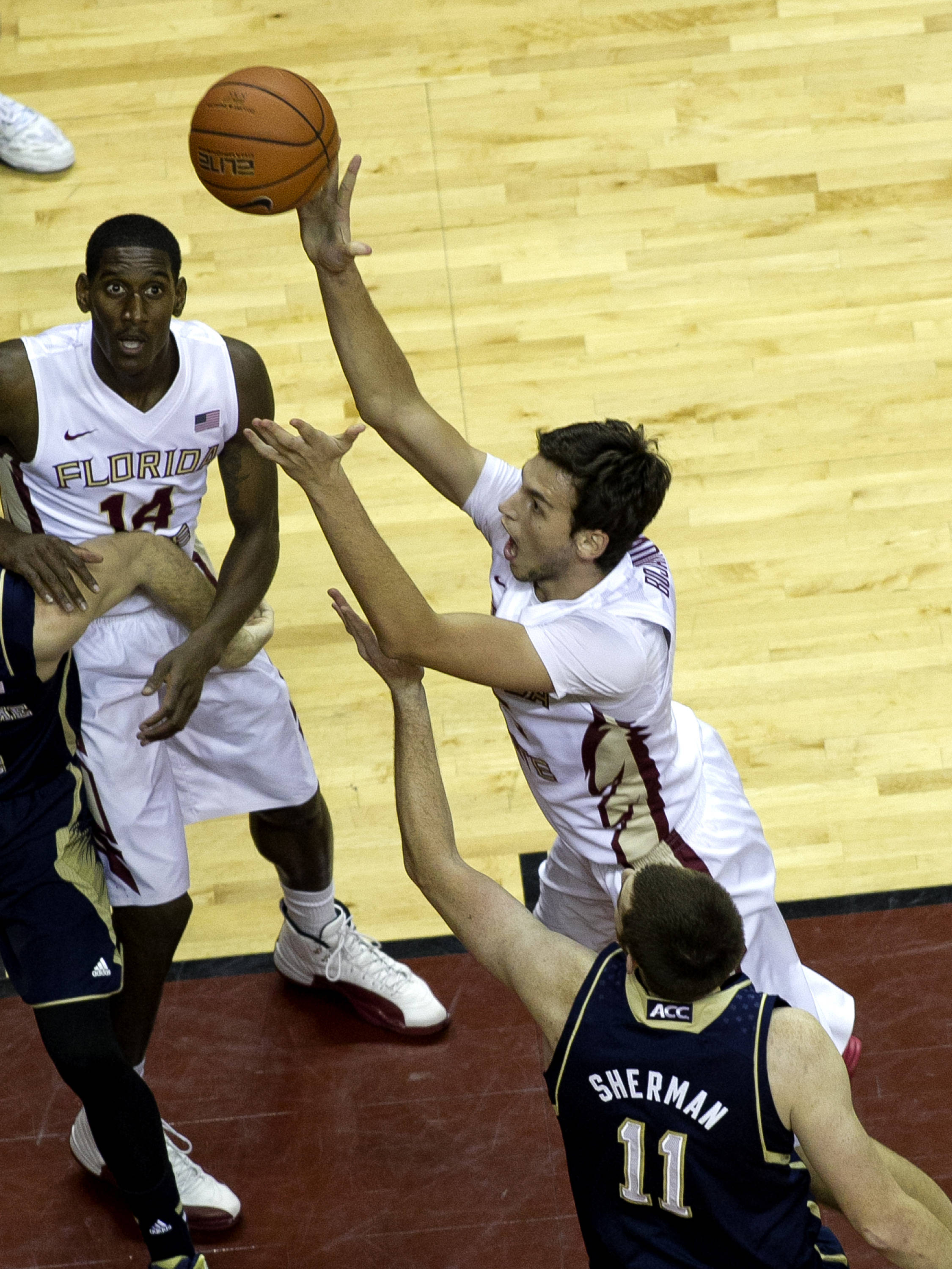 Boris Bojanovsky (15) with a hard fought short jumper, FSU vs Notre Dame, 1-21-14, (Photo's by Steve Musco)